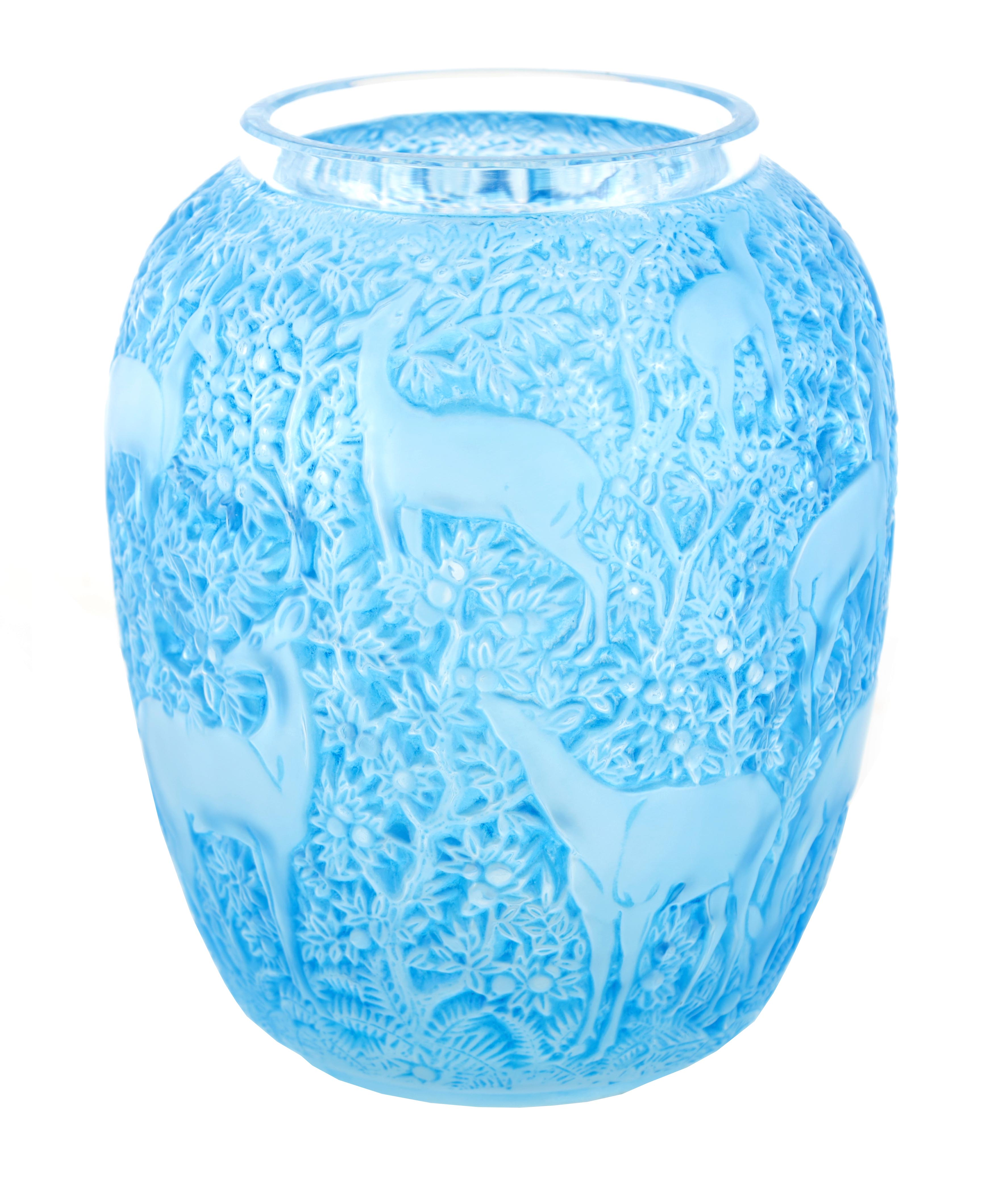 R LALIQUE, A BLUE STAINED 'BICHES' GLASS VASE of ovoid form with inward curved rim and collared neck