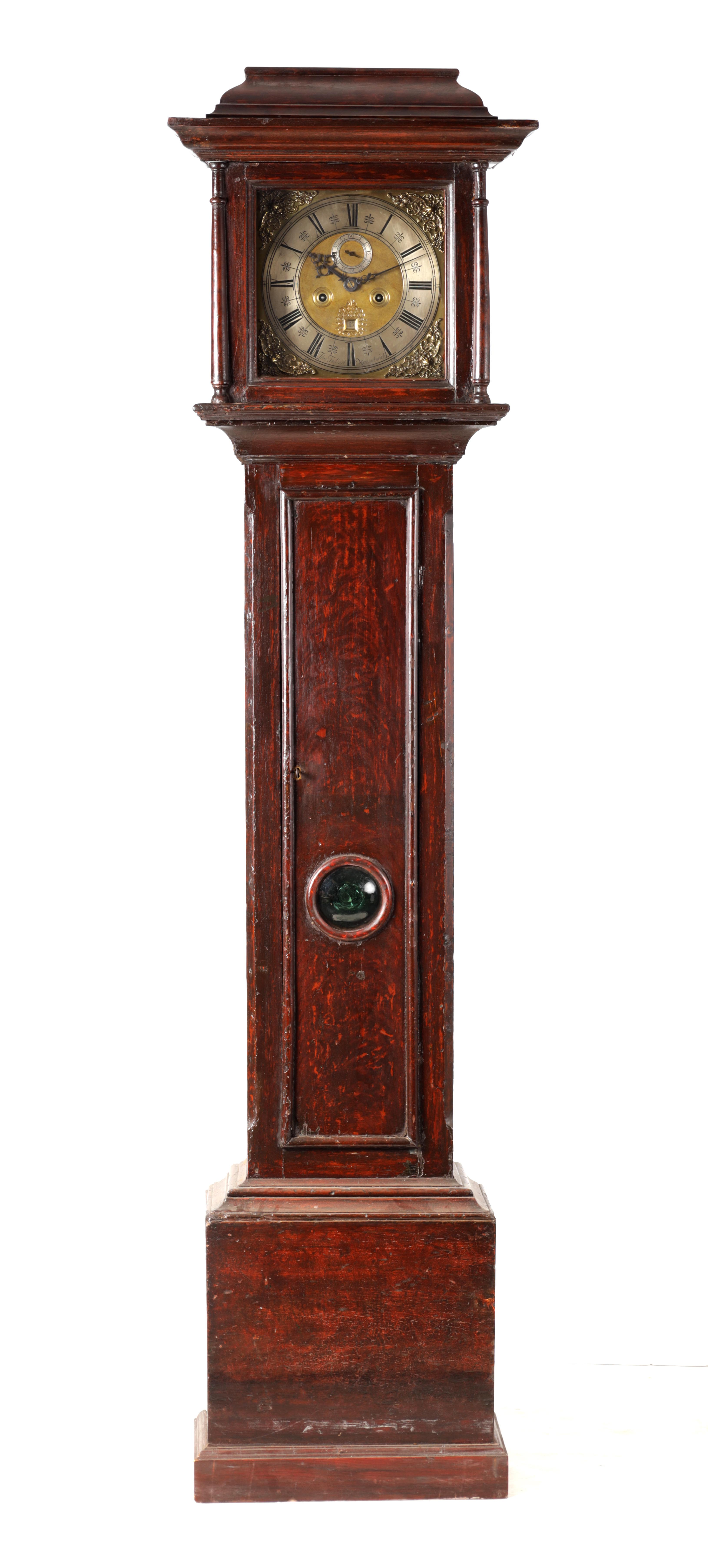 """THOMAS TALBOT, NAMPTWICH (NANTWICH) AN EARLY 18TH CENTURY 11"""" BRASS EIGHT-DAY LONGCASE CLOCK in a"""