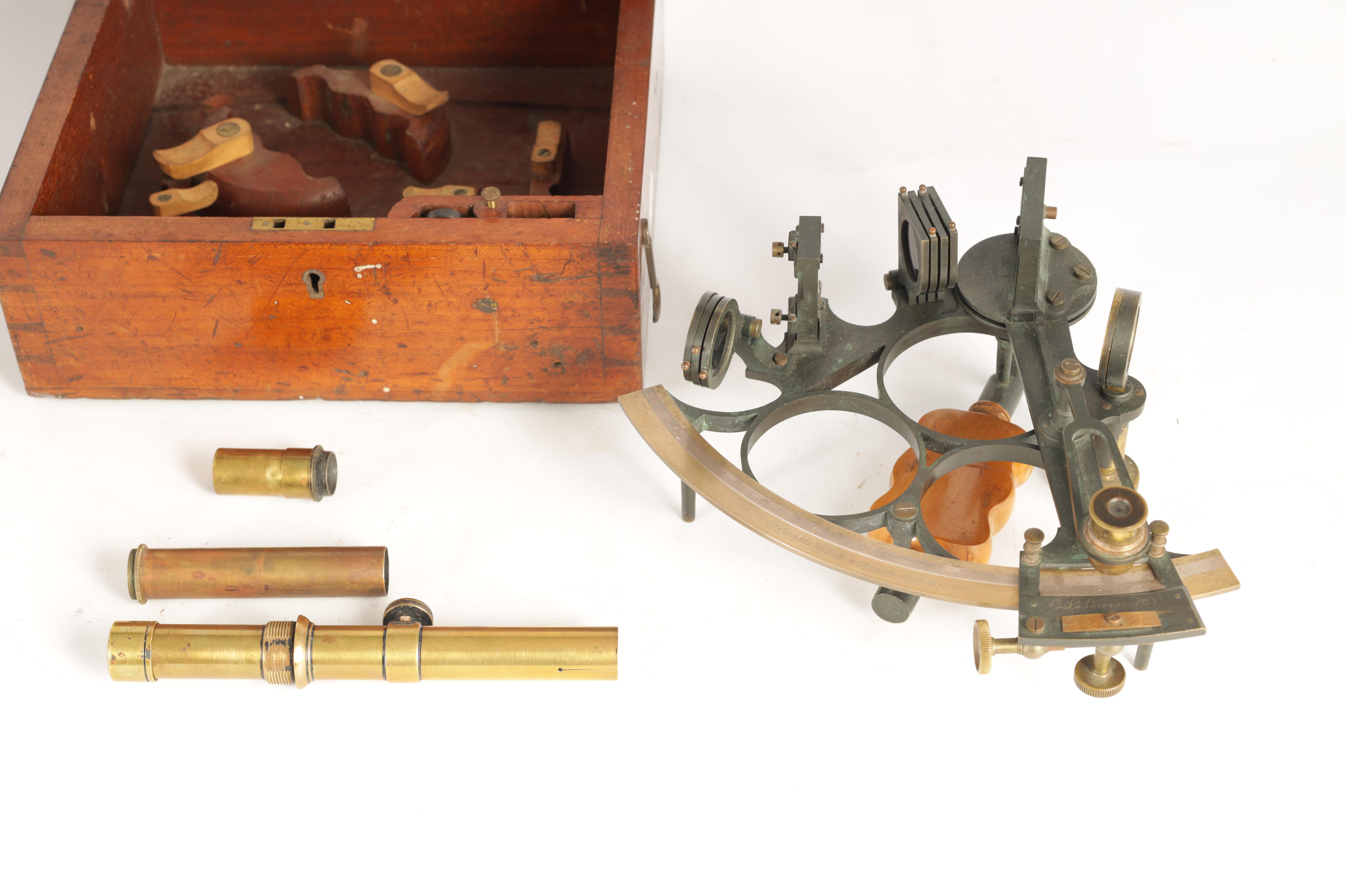 J. COOMBES, OPTICIAN & ADMIRALTY AGENT, DEVONPORT. A LATE 19TH CENTURY BRASS FRAMED SEXTANT IN - Image 12 of 17