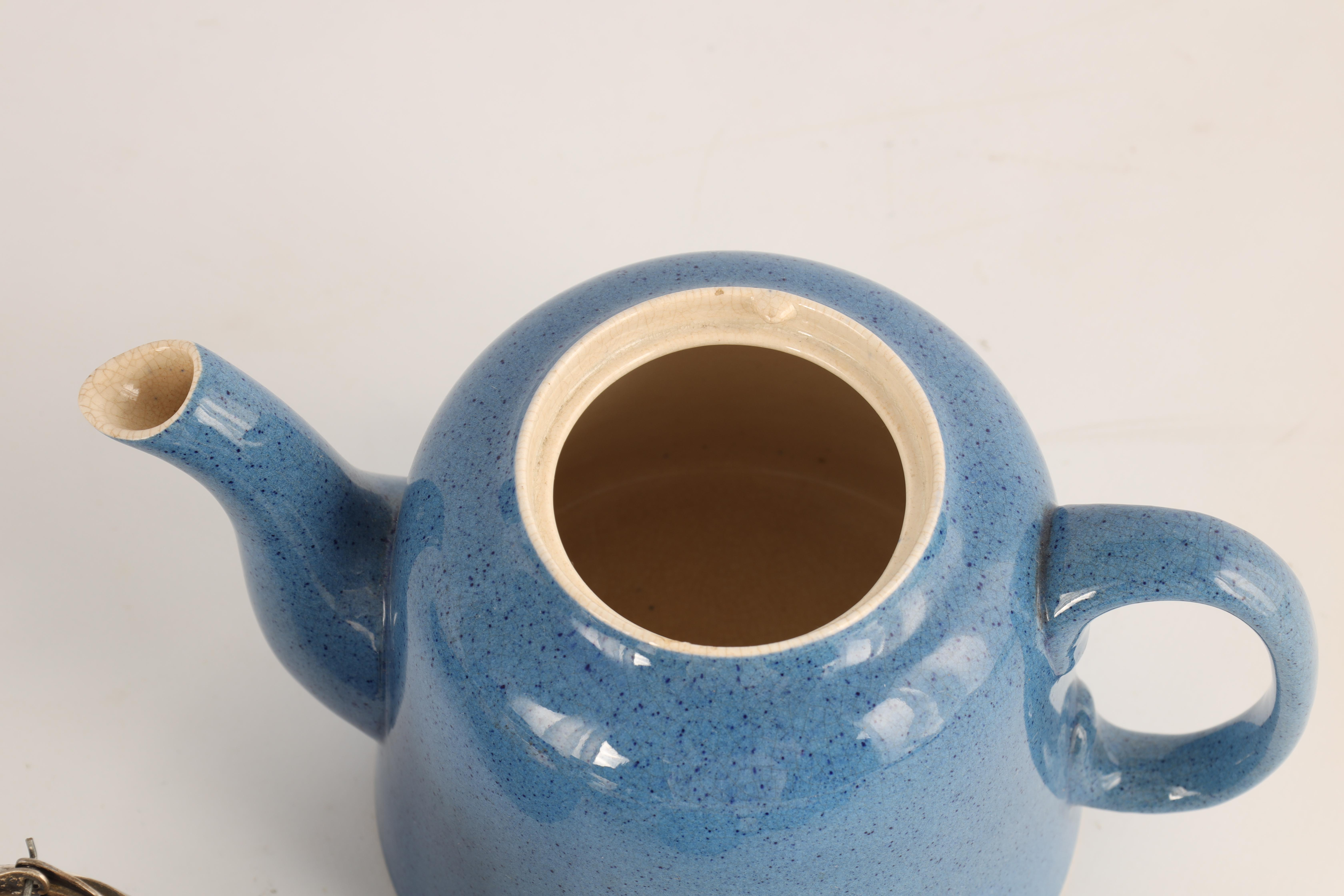A MOORCROFT BURSLEM 27 PIECE TEA AND COFFEE SERVICE plain blue and mottled ground and comprising - Image 8 of 10