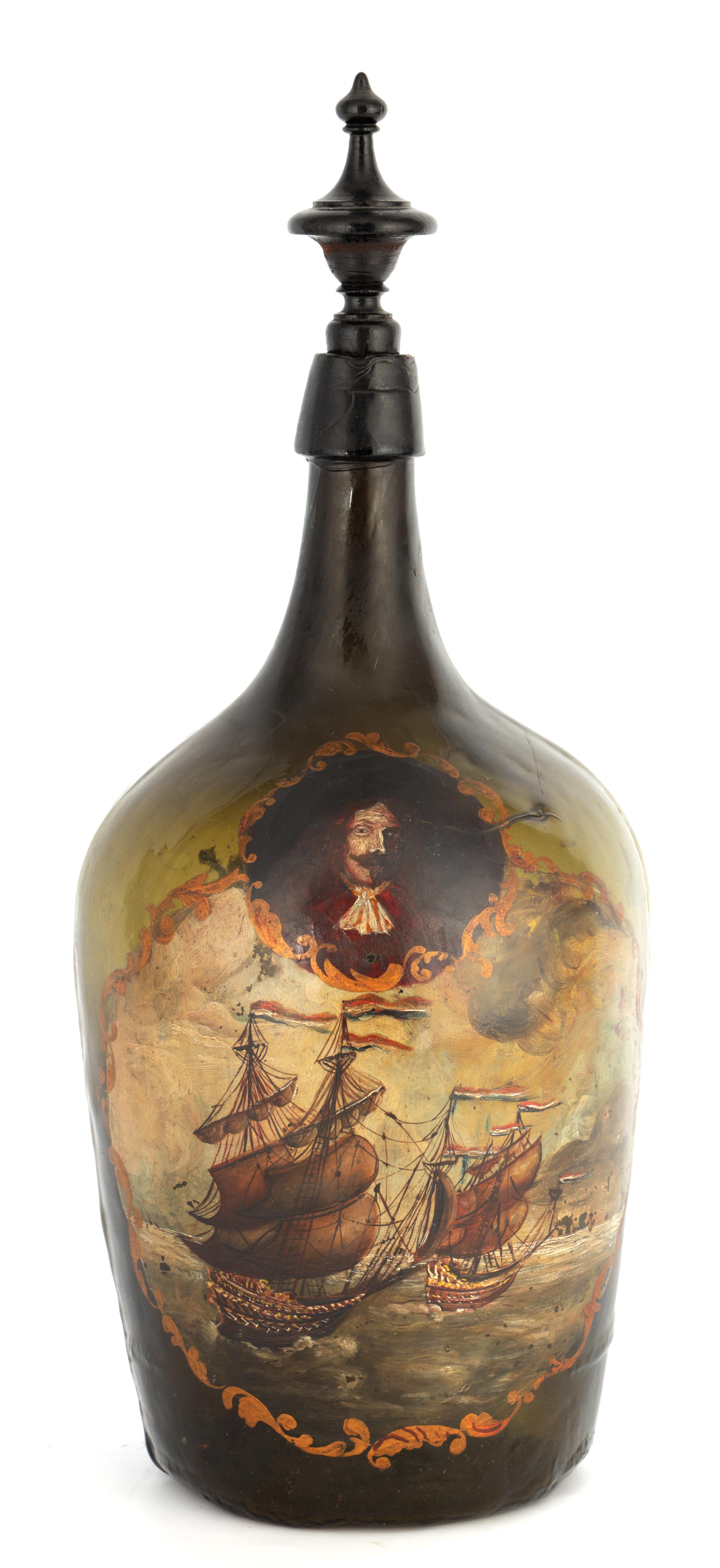 AN 18TH CENTURY GREEN GLASS BOTTLE WITH PAINTED NAVAL SCENE AND ARMOURIAL depicting a naval scene
