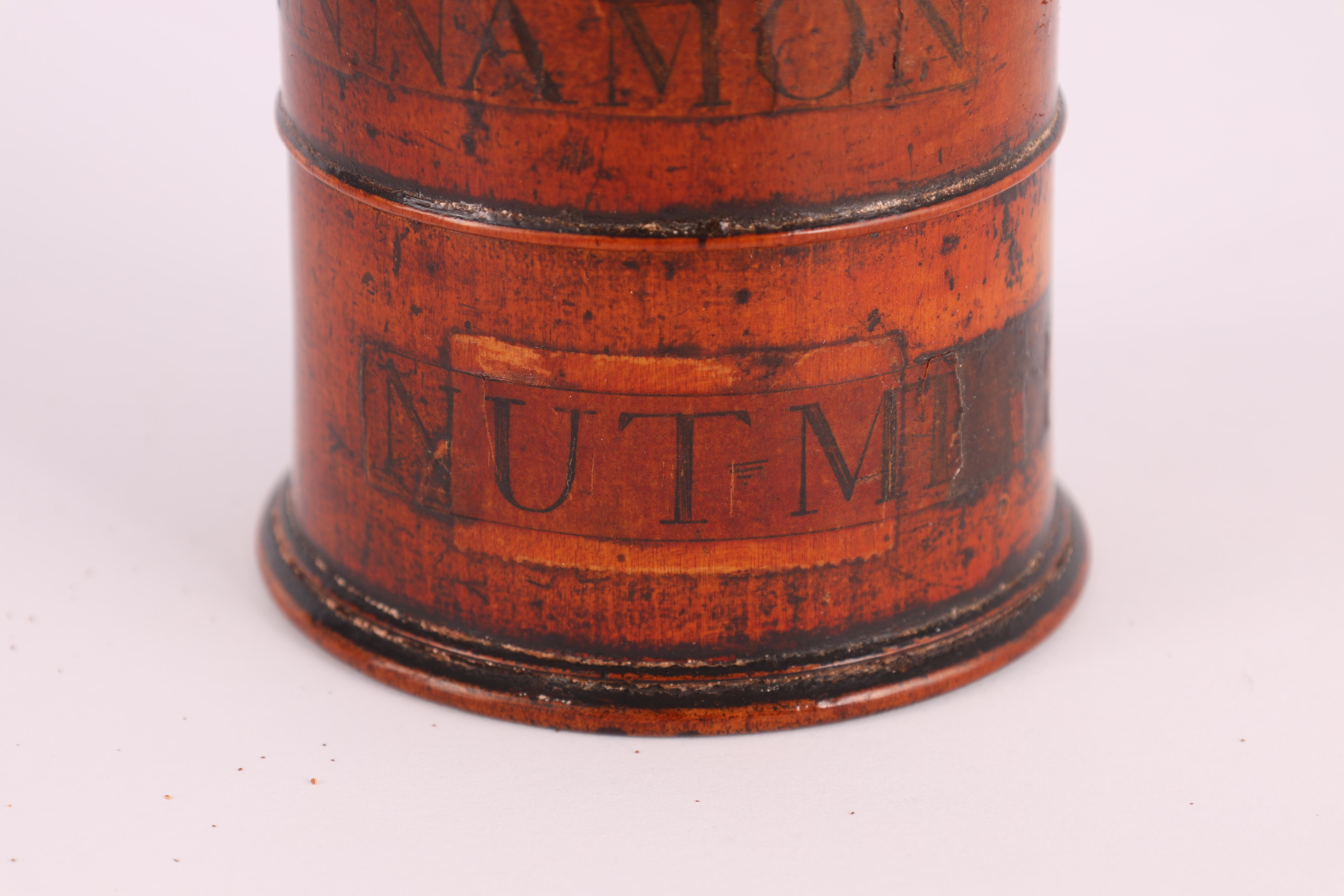 TWO EARLY 19TH CENTURY SYCAMORE TREEN SPICE TOWERS with original labels, the three stack 15cm - Image 3 of 13