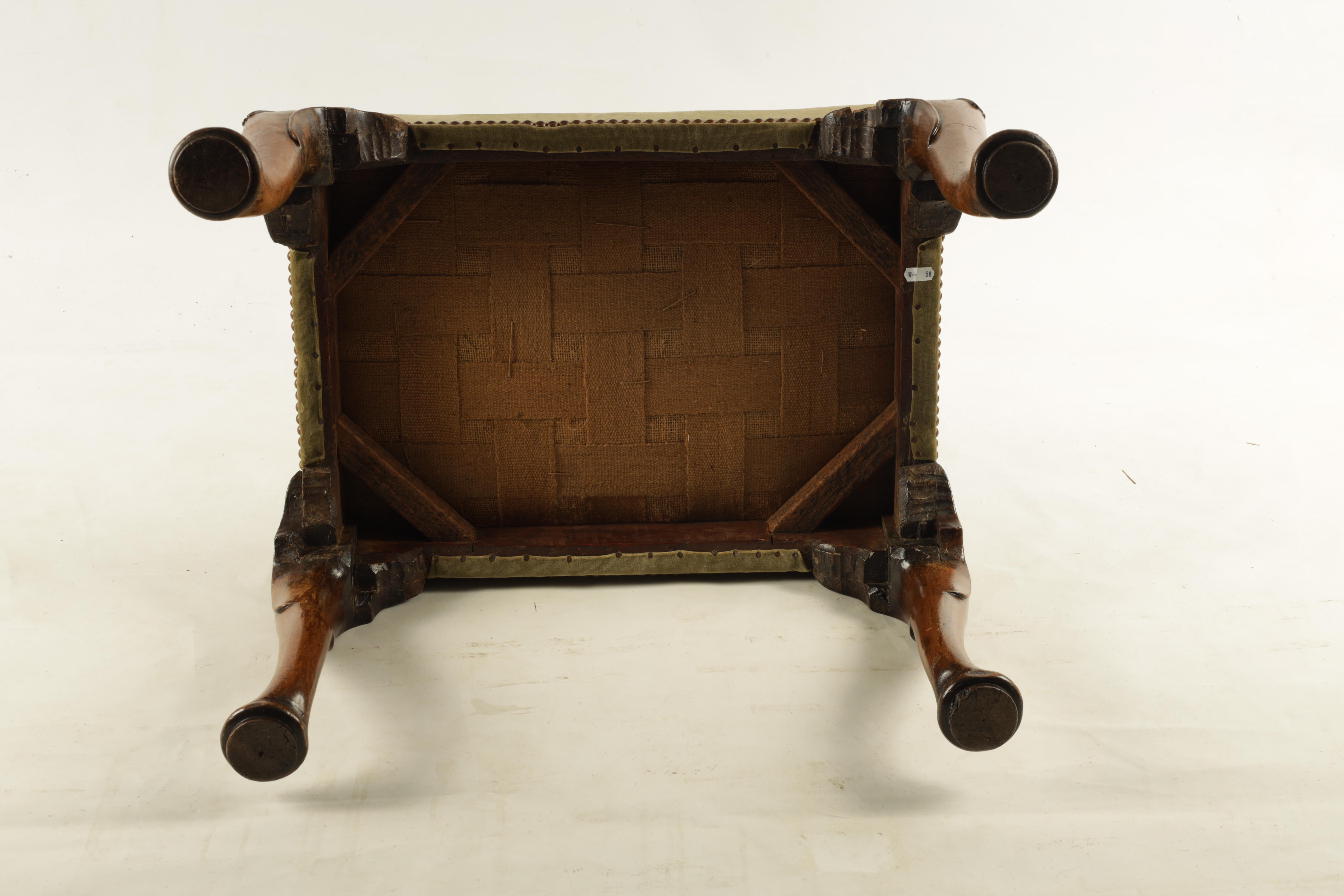 A GEORGE II WALNUT STOOL with upholstered top raised on cabriole legs with pad feet 60cm wide 45cm - Image 5 of 5