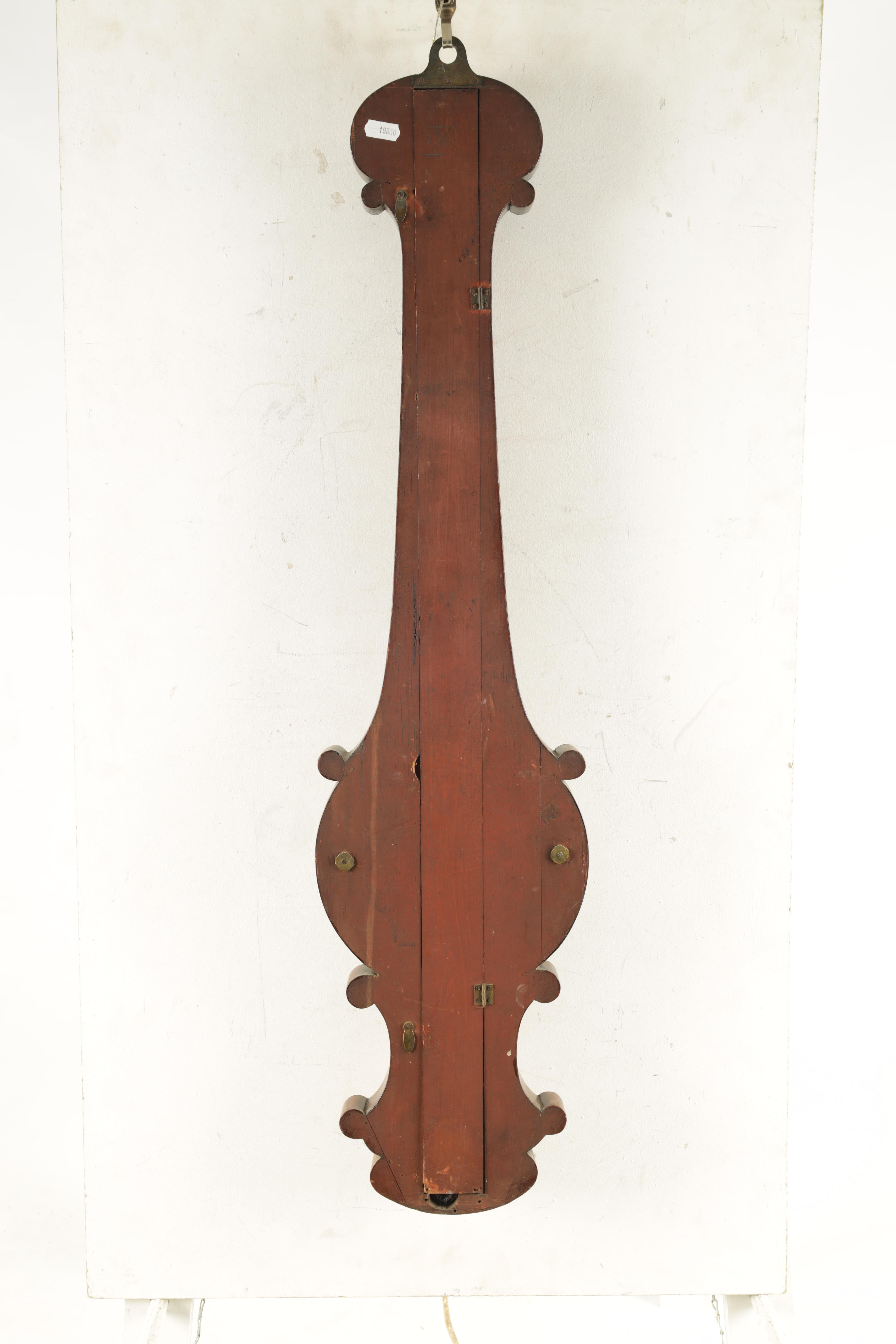 """ADIE AND SON. EDINBURGH A SMALL 19TH CENTURY 6"""" DIAL FIGURED MAHOGANY WHEEL BAROMETER the case - Image 3 of 4"""