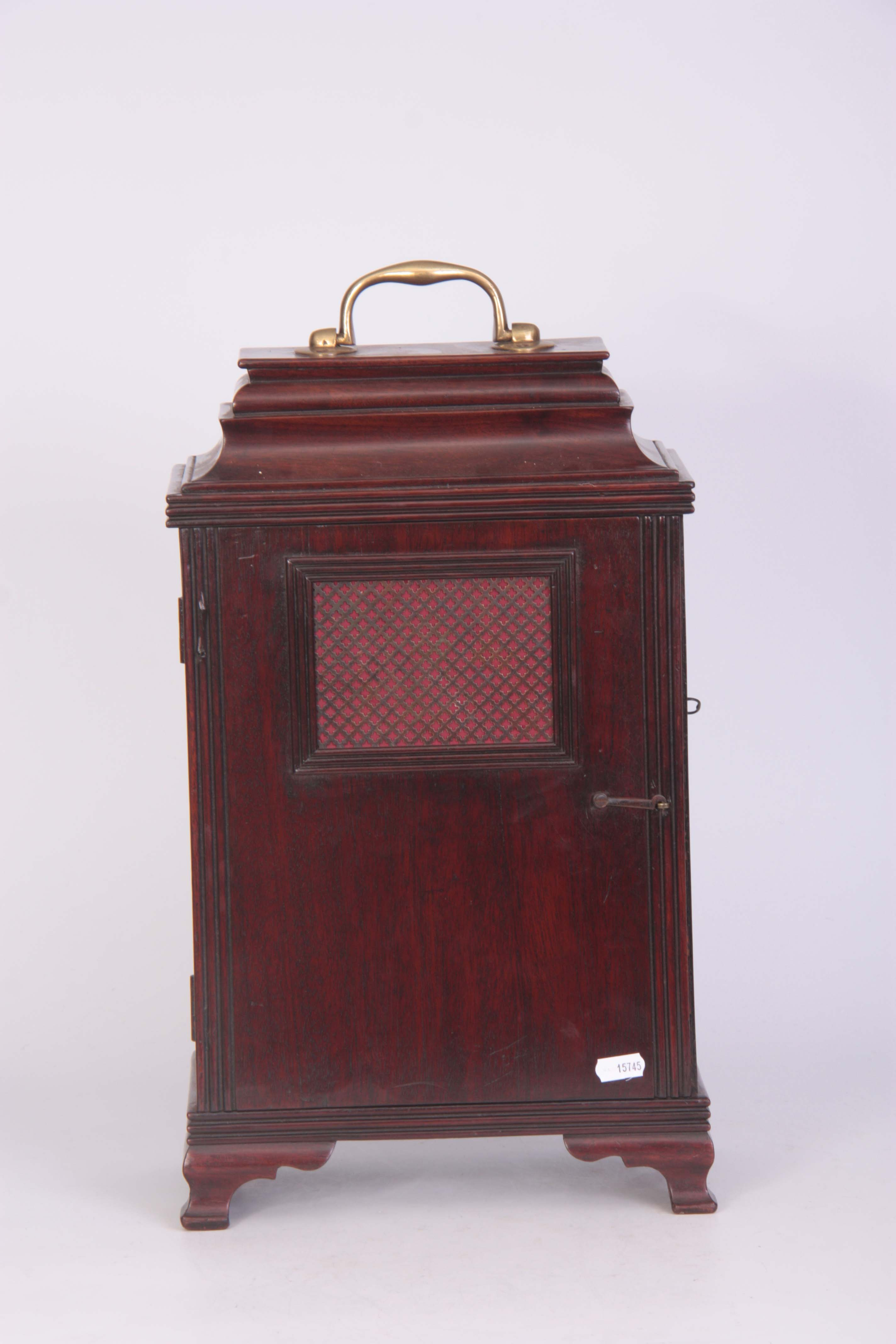 WILLIAM JACKSON, FRODSHAM A GEORGE III PAINTED DIAL MAHOGANY BRACKET CLOCK the case with moulded - Image 4 of 7