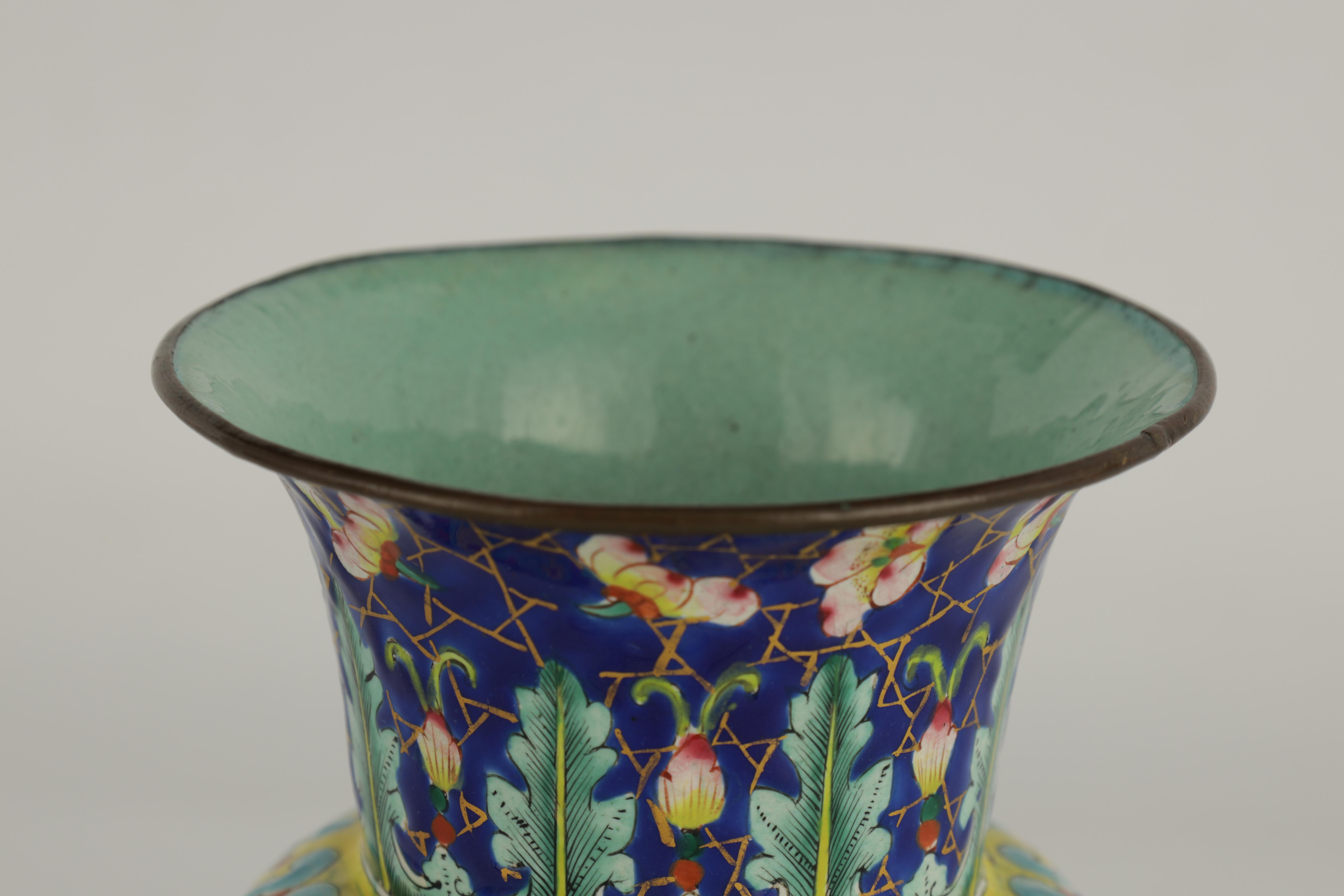 AN EARLY 19TH CENTURY CHINESE ENAMEL VASE of bulbous form with brightly coloured enamel decoration - Image 3 of 5