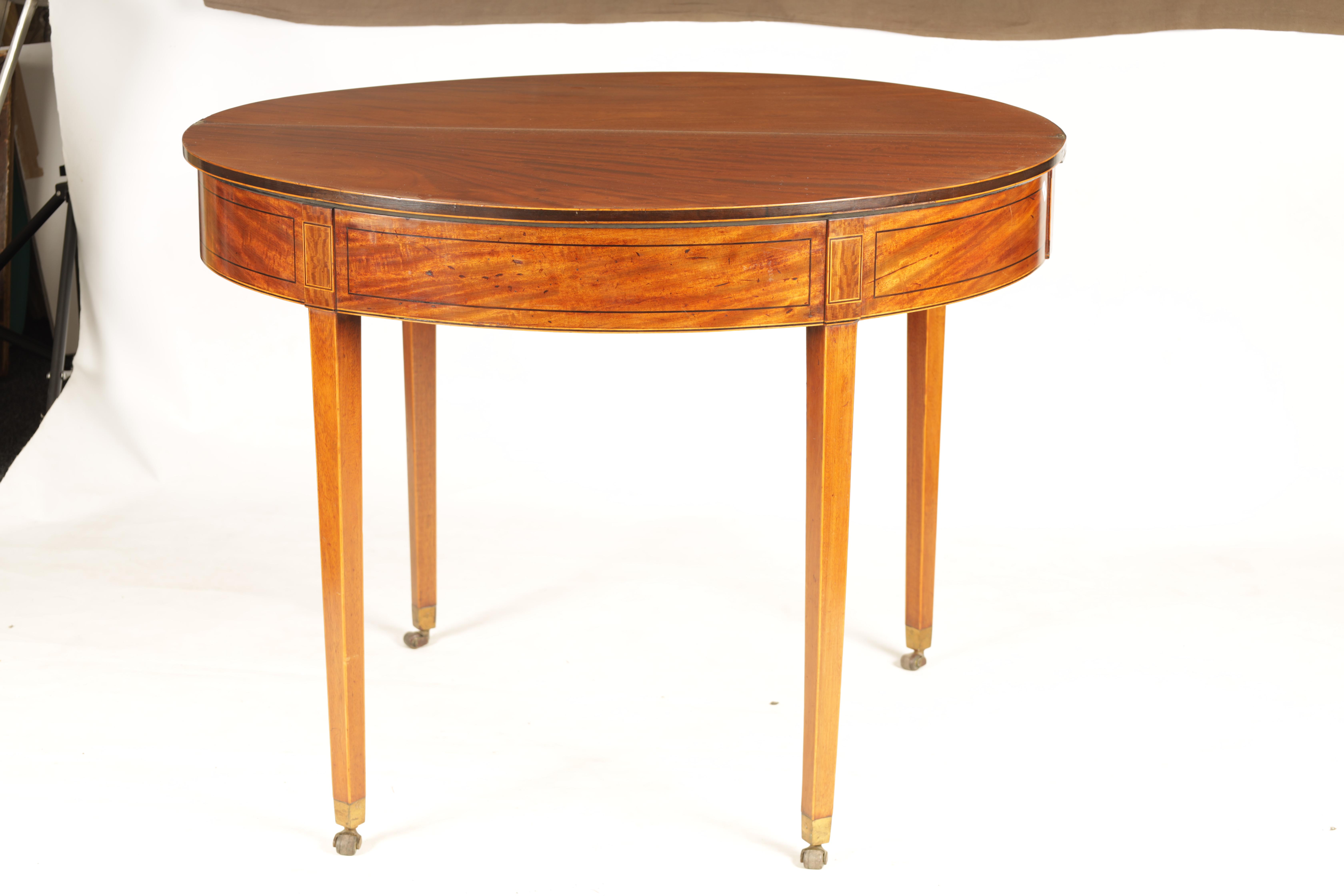 A GEORGE III FIGURED SATINWOOD D END TEA TABLE with hinged top and double gate rear legs; standing - Image 6 of 8