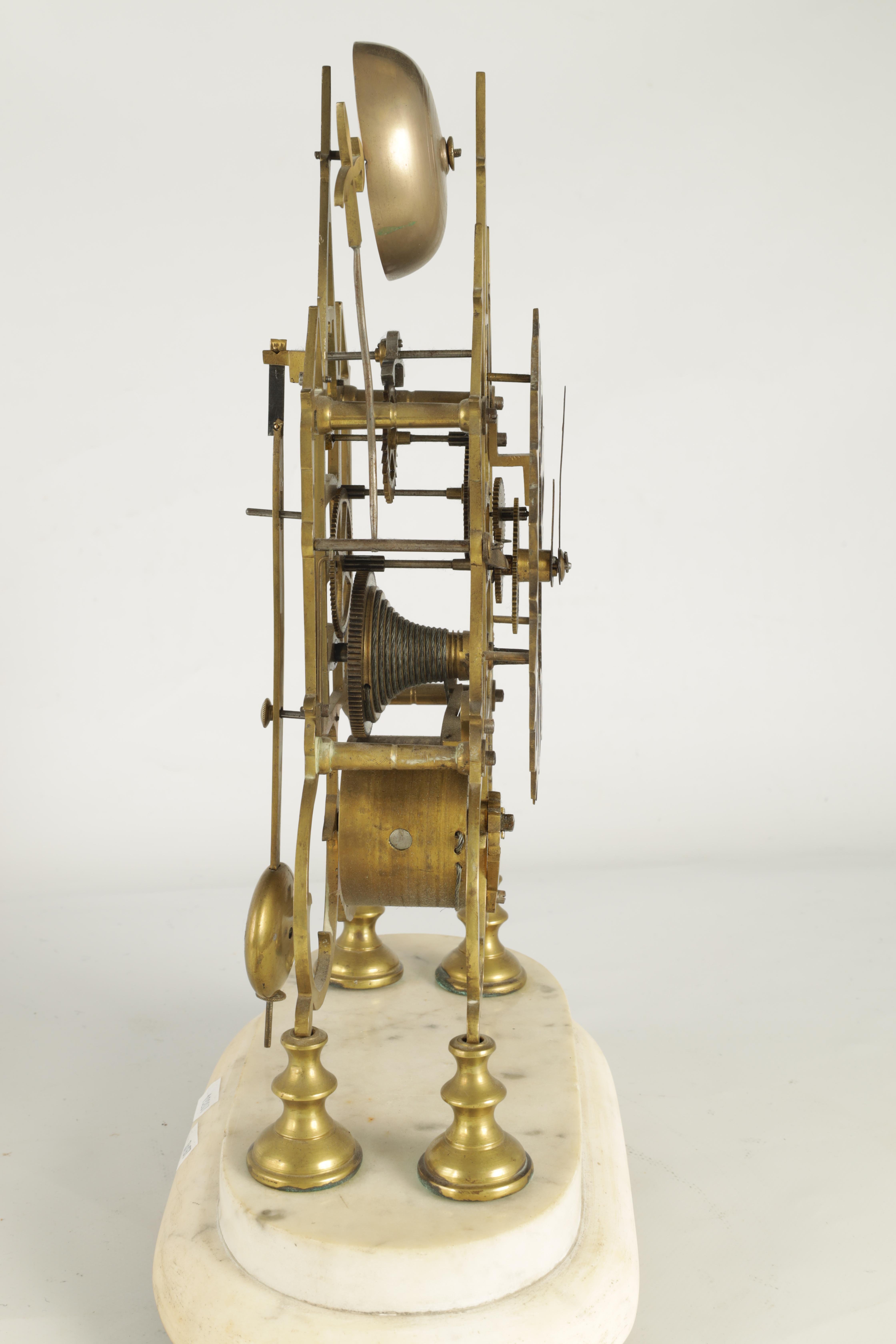 A 19TH CENTURY BRASS SINGLE FUSEE 8-DAY SKELETON CLOCK with liar shaped frame joined by four - Image 5 of 7