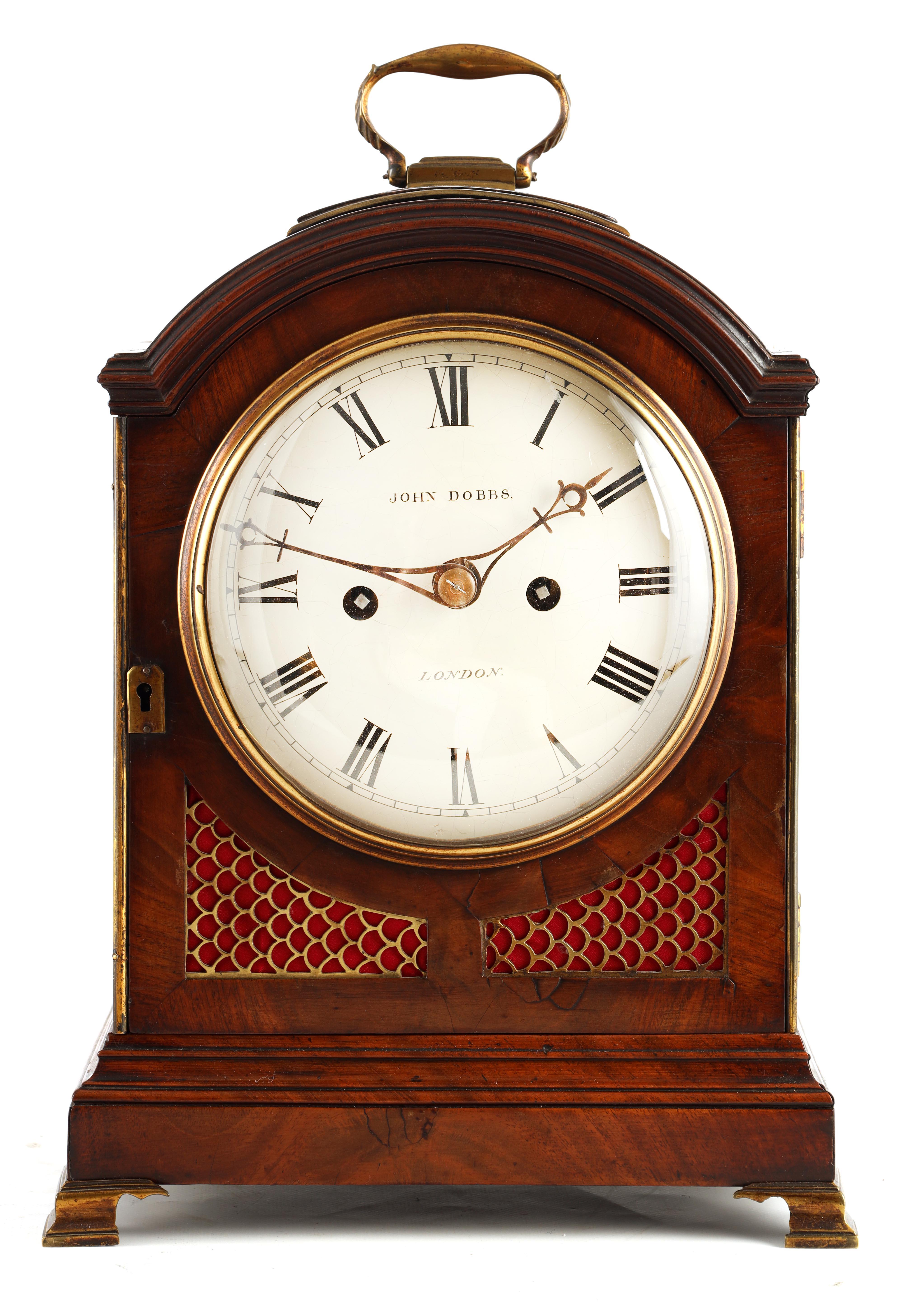 JOHN DOBBS, LONDON A LATE GEORGE III MAHOGANY VERGE BRACKET CLOCK the figured mahogany case with