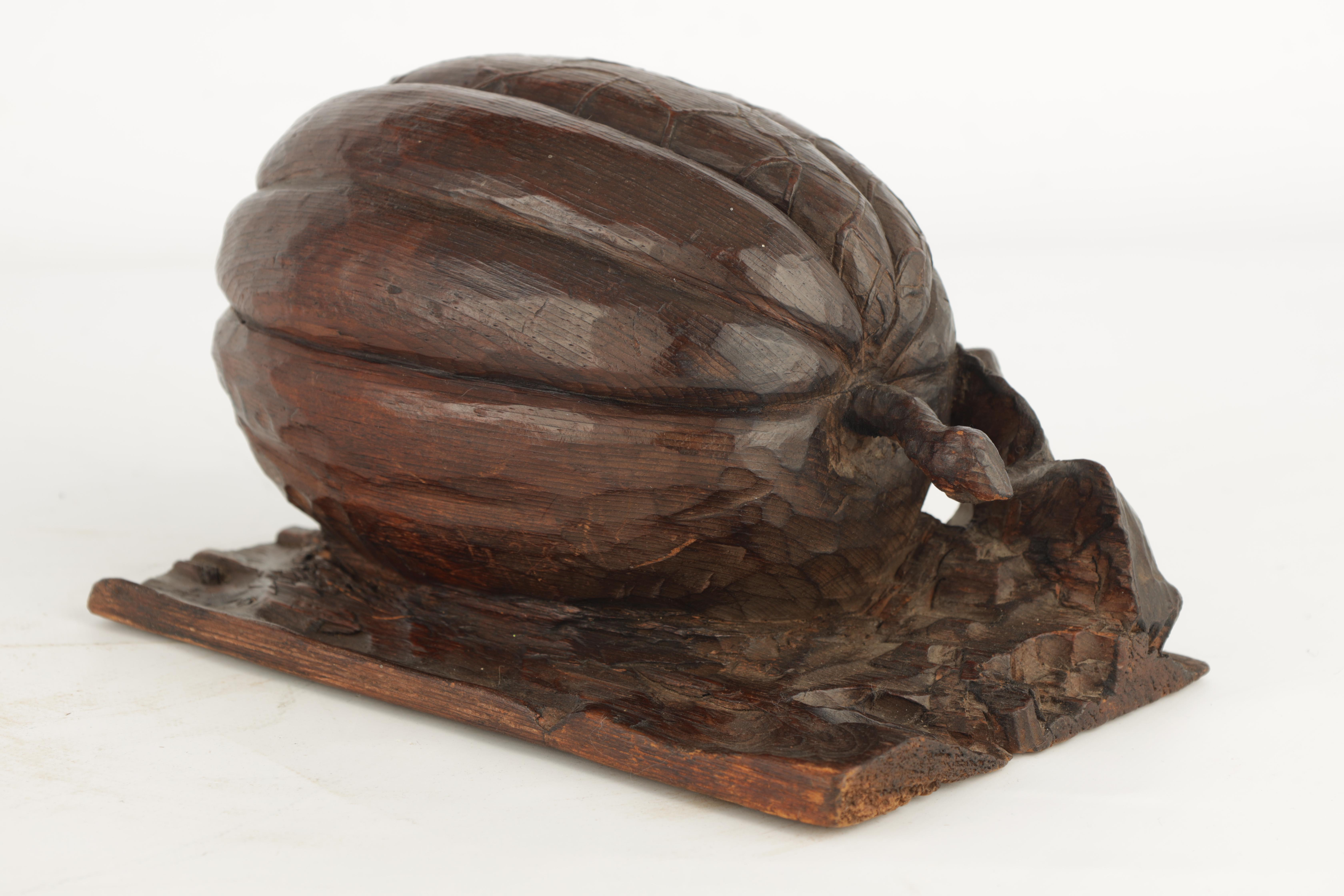 A 19TH CENTURY CARVED OAK SCULPTURE modelled as a pumpkin on a naturalistic base 23.5cm wide, 13cm - Image 5 of 7