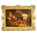 A LATE GEORGIAN OIL ON CANVAS IN THE MANNER OF DAVID WILKIE depicting a country cottage scene 54cm