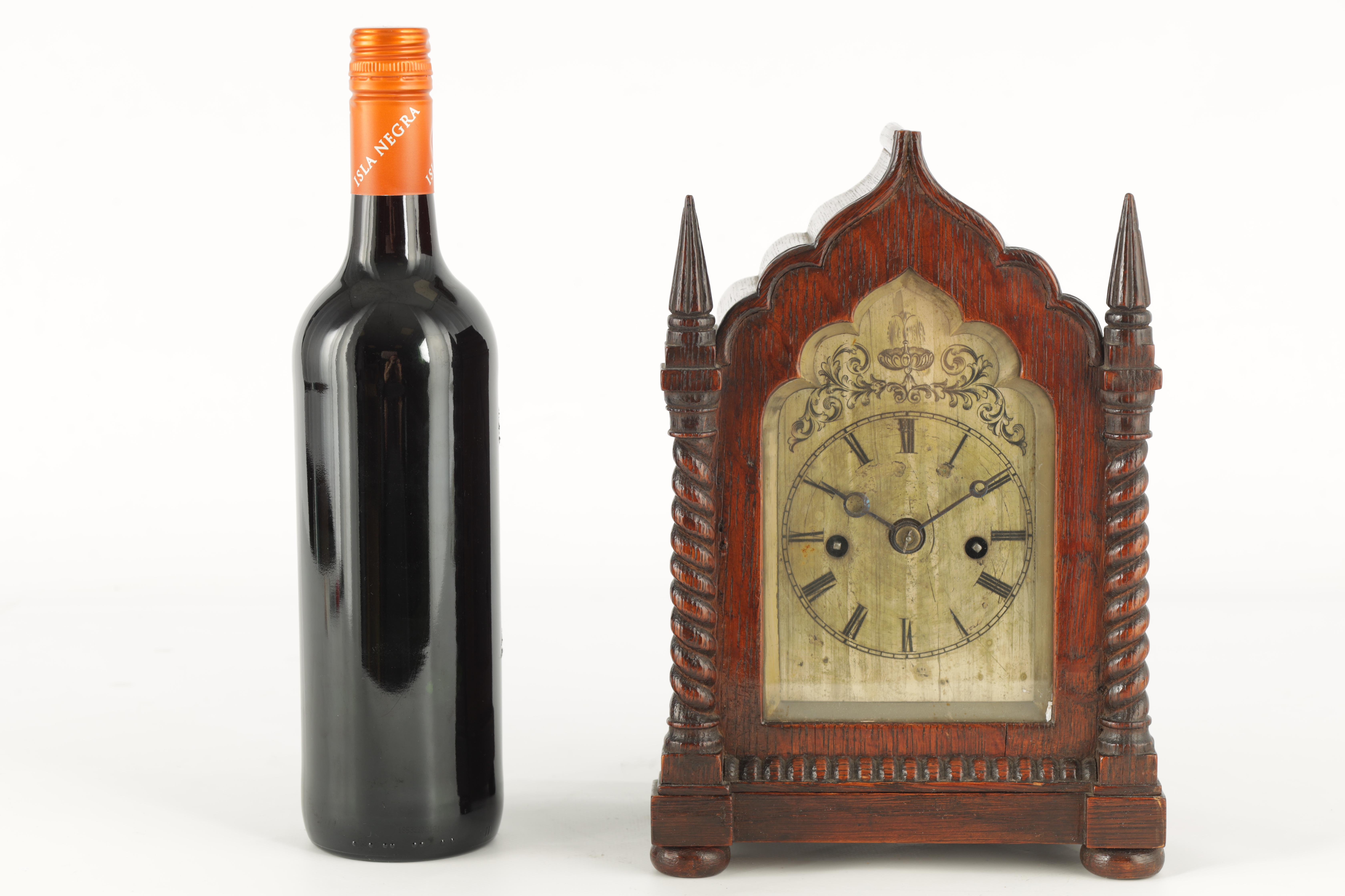 A SMALL MID 19TH CENTURY OAK CASED DOUBLE FUSEE MANTEL CLOCK the gothic style case with twisted - Image 7 of 7