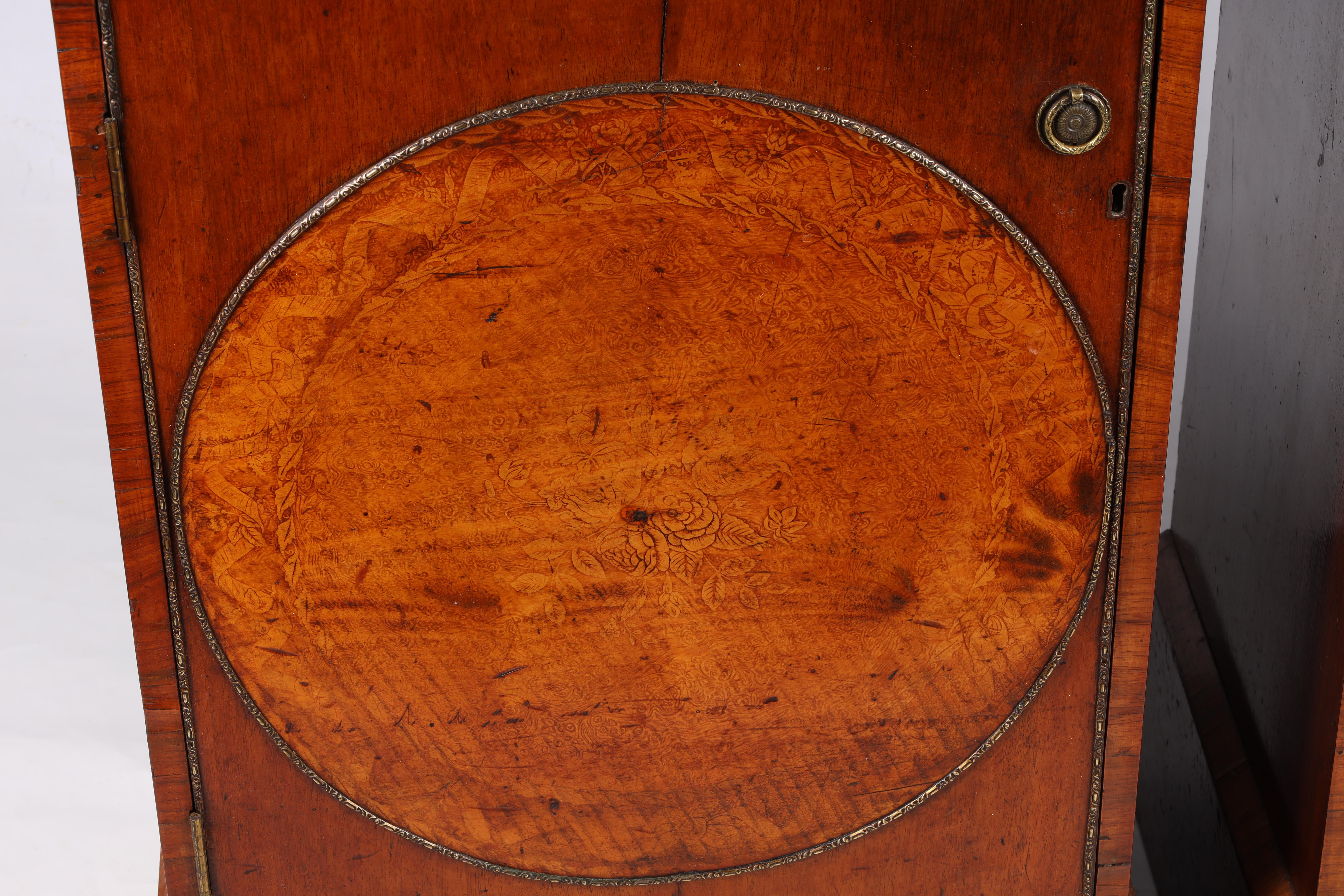 A LARGE PAIR OF GEORGE III KINGWOOD BANDED MAHOGANY PEDESTALS with unusual pen work panels depicting - Image 4 of 11