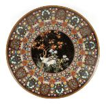 AN IMPRESSIVE JAPANESE MEIJI PERIOD CLOISONNE ENAMEL CHARGER finely decorated with cranes amongst