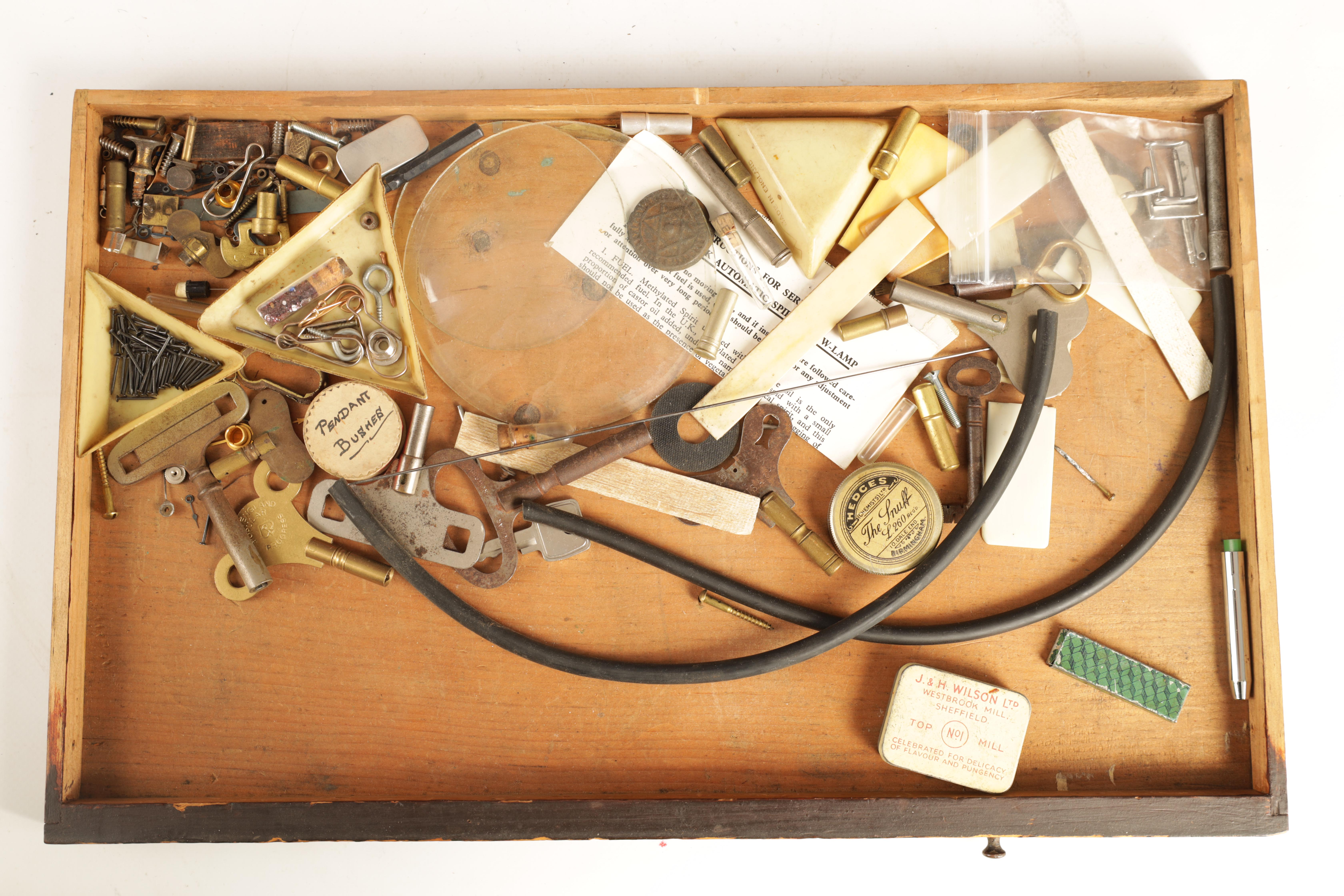 A LARGE COLLECTION OF JEWELERS AND WATCHMAKERS TOOLS contained in a set of pine drawers - Image 10 of 12