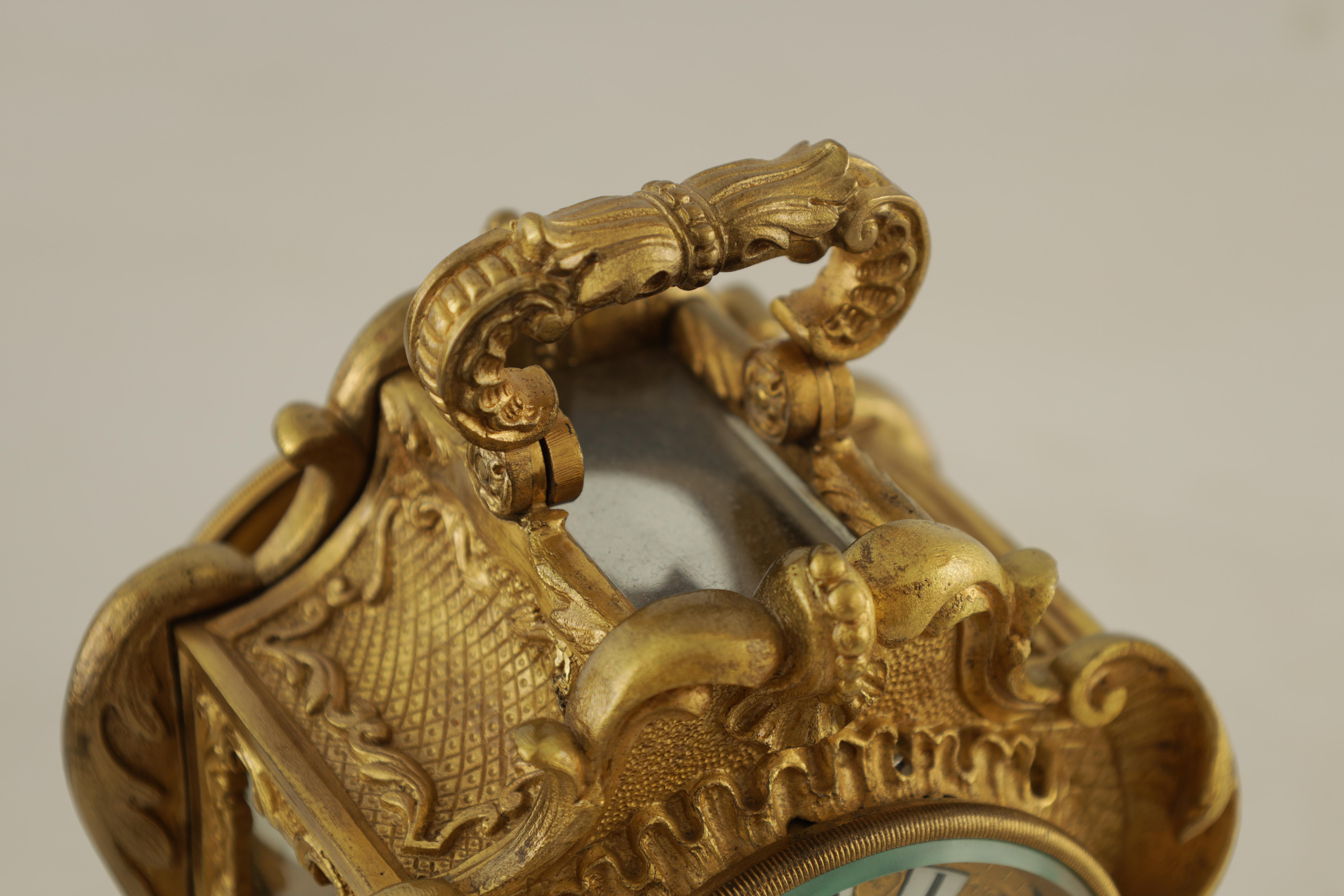 PAUL GARNIER, PARIS A MID 19TH CENTURY FRENCH TRAVELLING MANTEL CLOCK the gilt bronze rococo style - Image 8 of 13