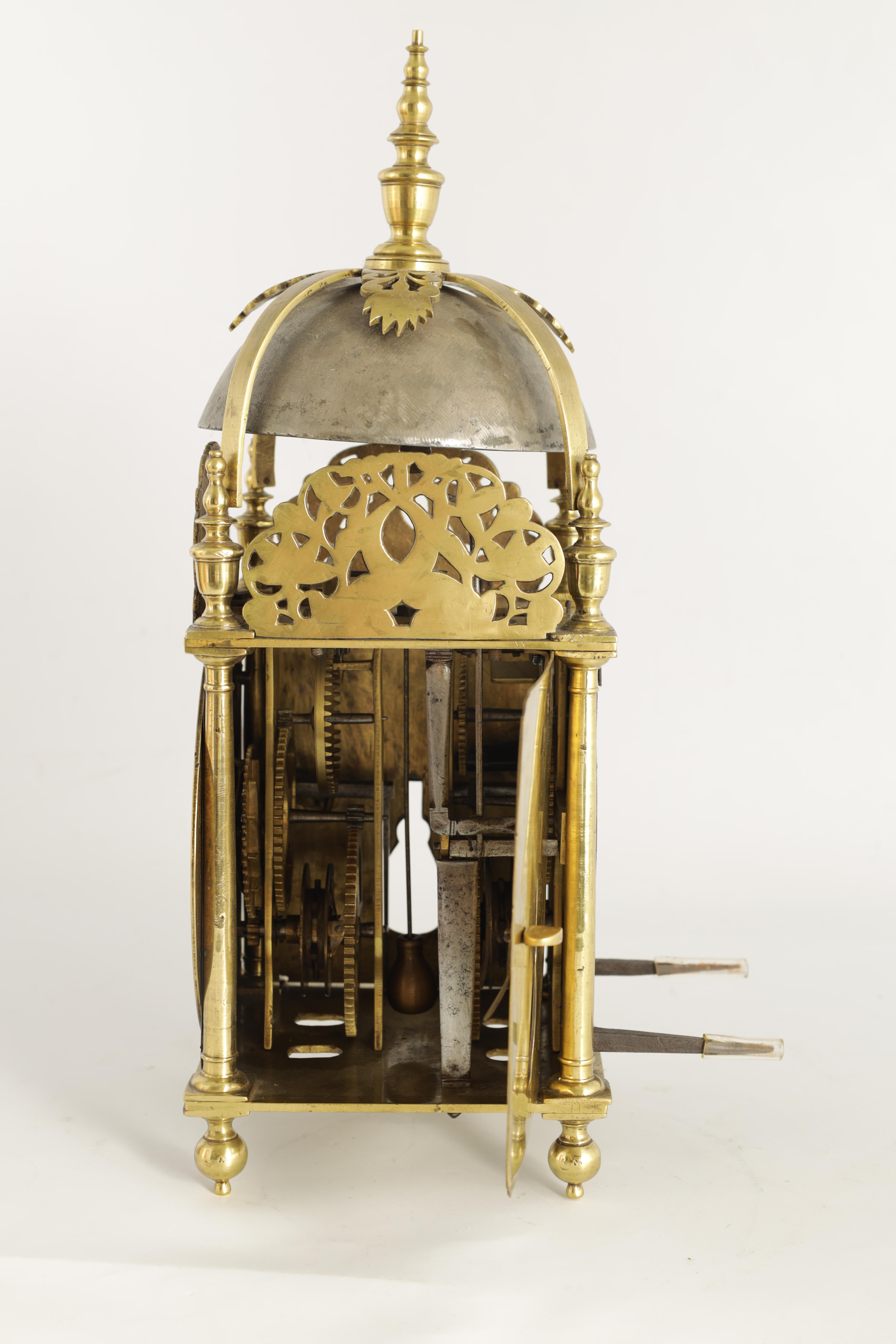 A FINE CHARLES II BRASS LANTERN CLOCKthe posted frame with side doors, engraved fretwork - Image 7 of 9