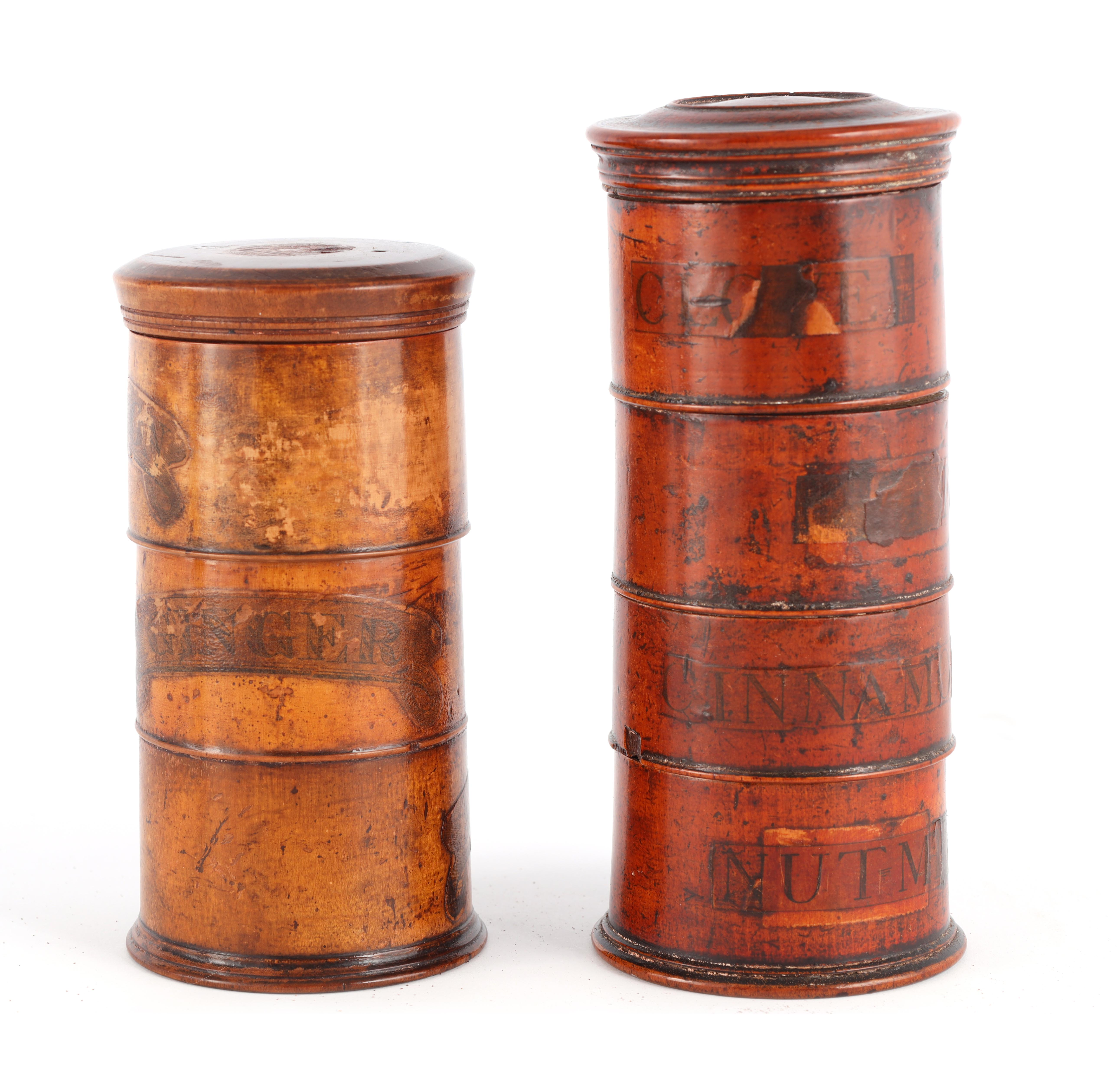 TWO EARLY 19TH CENTURY SYCAMORE TREEN SPICE TOWERS with original labels, the three stack 15cm