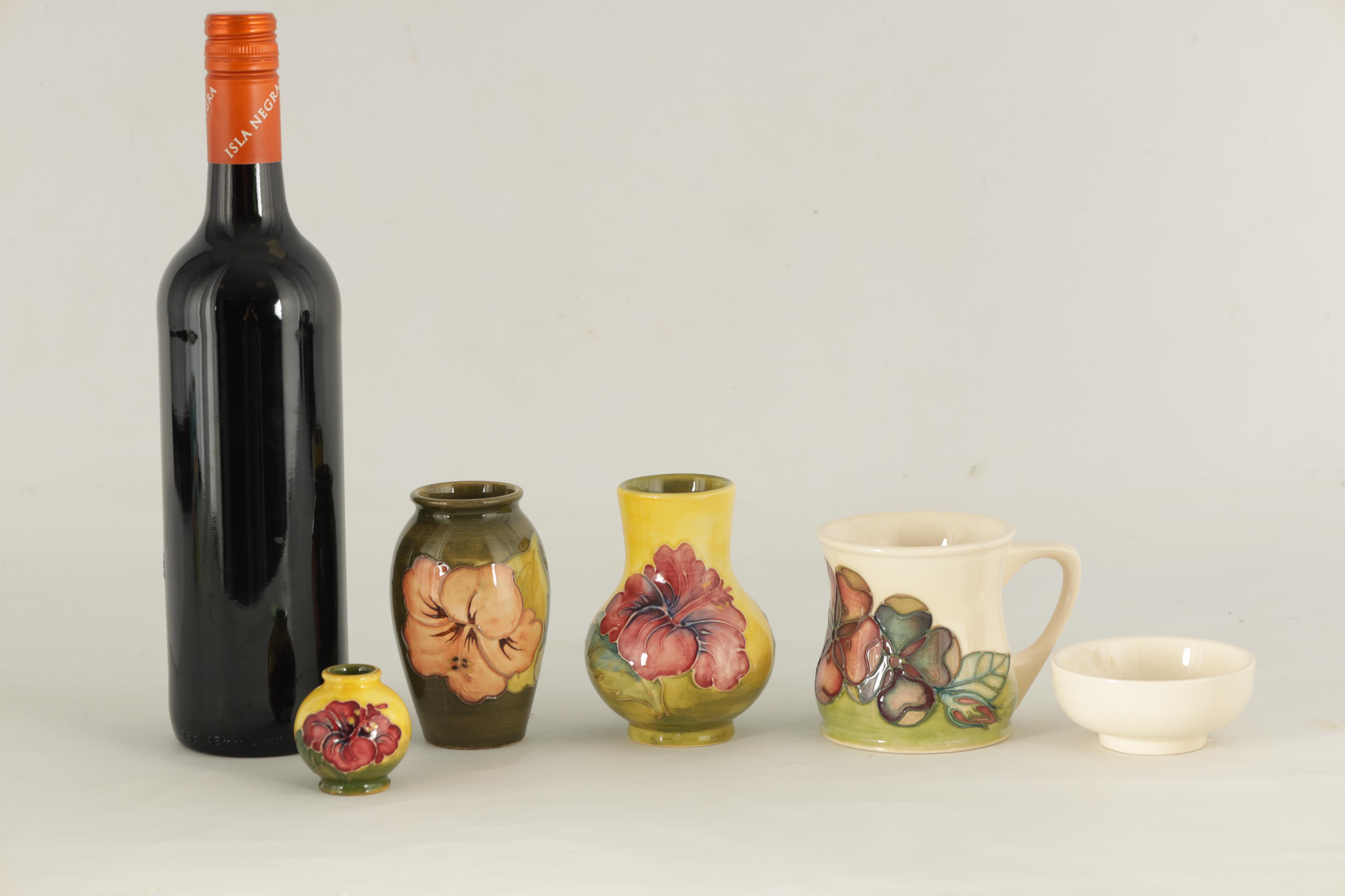 A MOORCROFT MINIATURE BULBOUS CABINET VASE tube lined and decorated with hibiscus flowerhead - Image 2 of 8