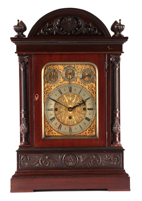 A LATE 19TH CENTURY QUARTER CHIMING TRIPLE FUSEE BRACKET CLOCK the large mahogany case with arched - Image 2 of 7