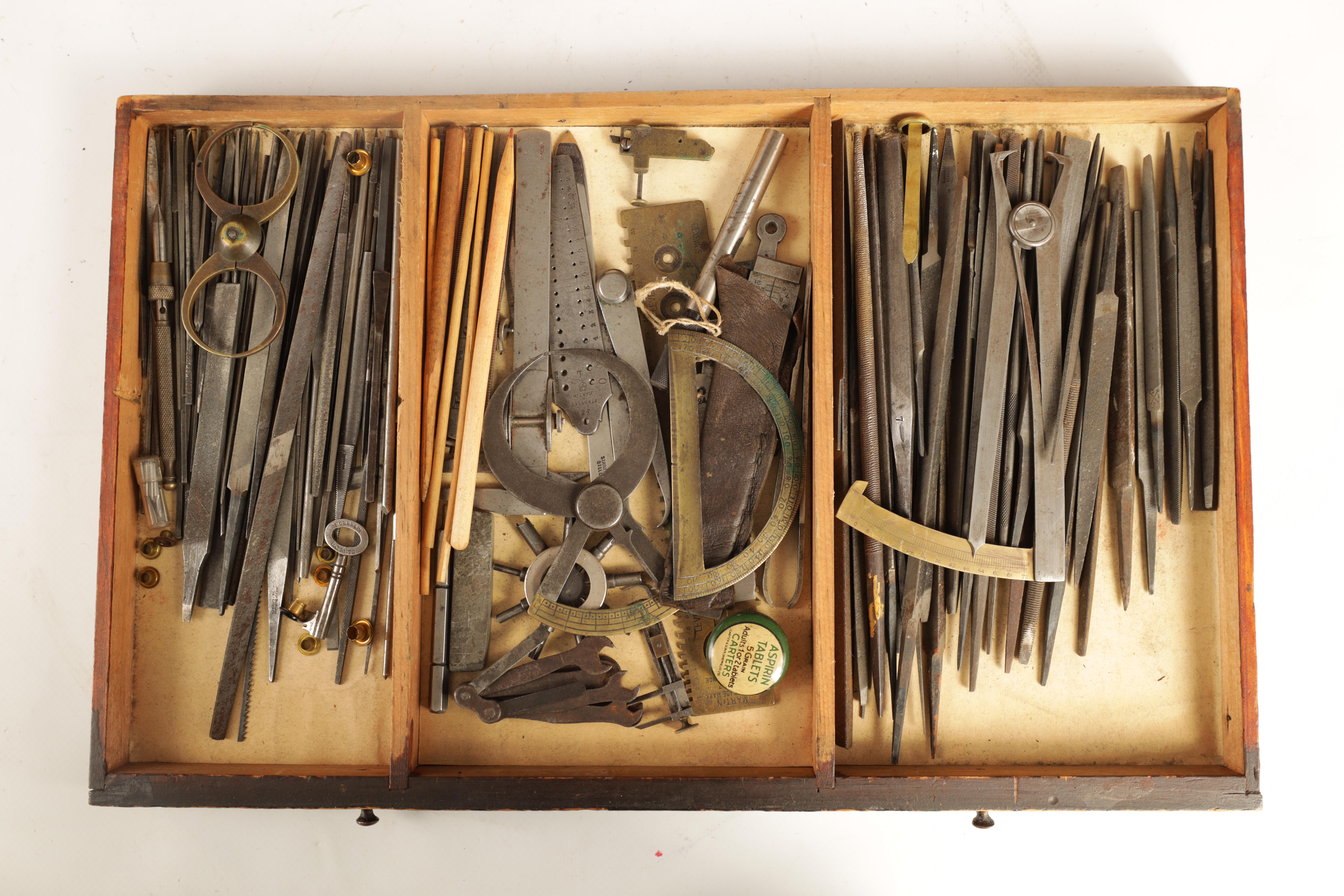 A LARGE COLLECTION OF JEWELERS AND WATCHMAKERS TOOLS contained in a set of pine drawers - Image 9 of 12
