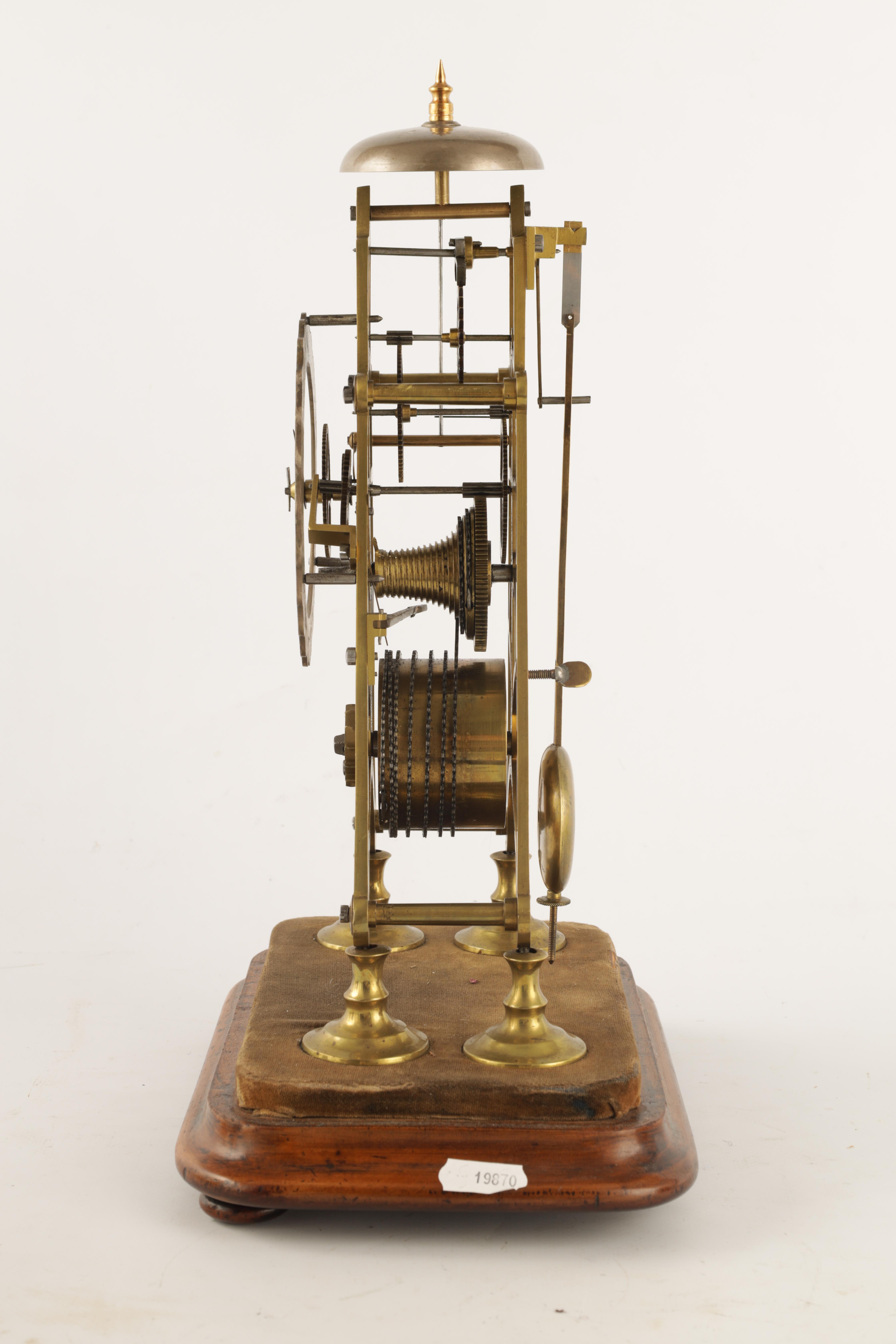 A 19TH CENTURY 8-DAY FUSEE TIMEPIECE SKELETON CLOCK with passing hour bell strike, tapering plates - Image 6 of 6