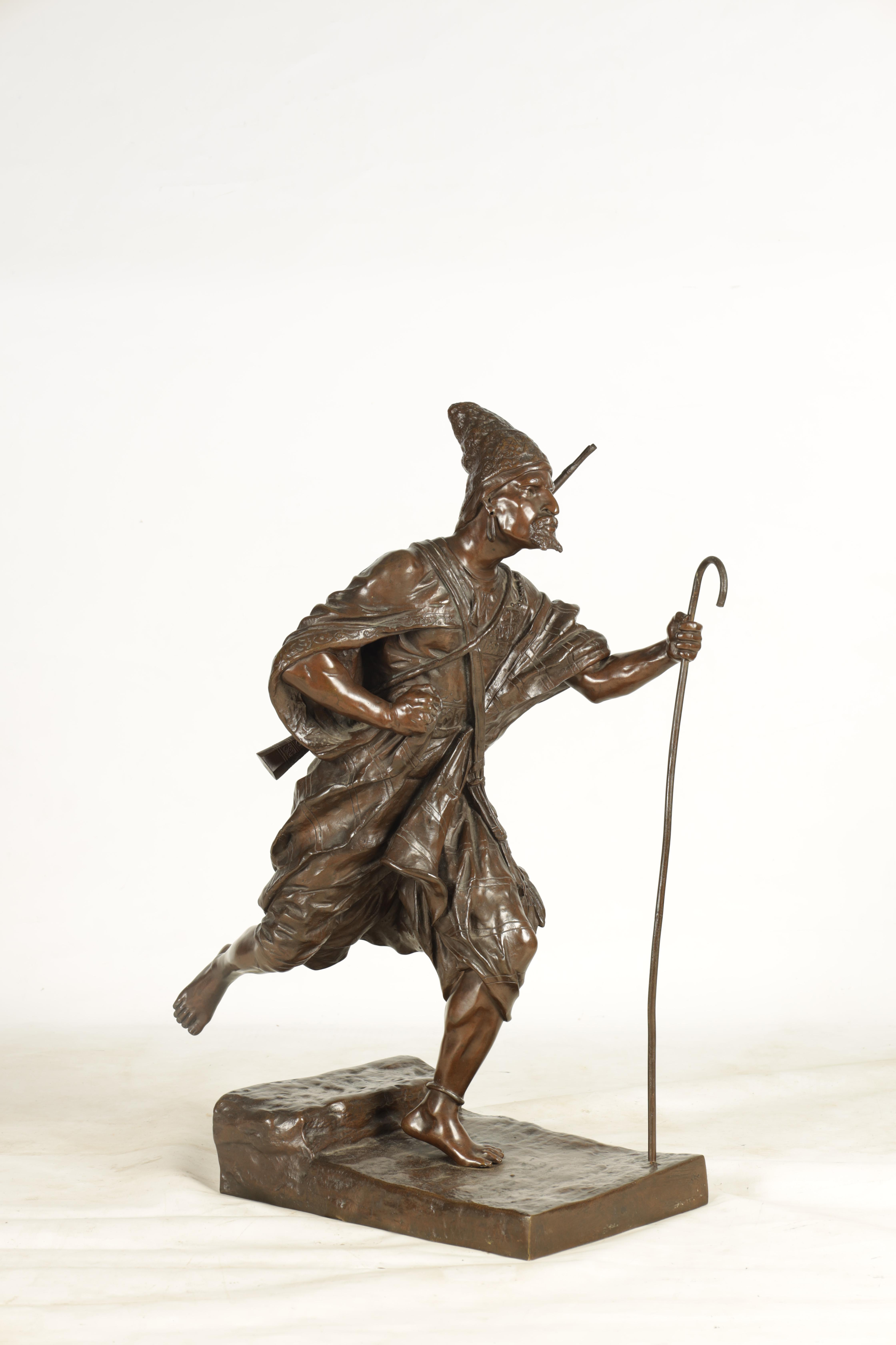 A 19TH CENTURY FRENCH FIGURAL BRONZE depicting an Eastern male figure walking with shepherds crook - Image 3 of 5
