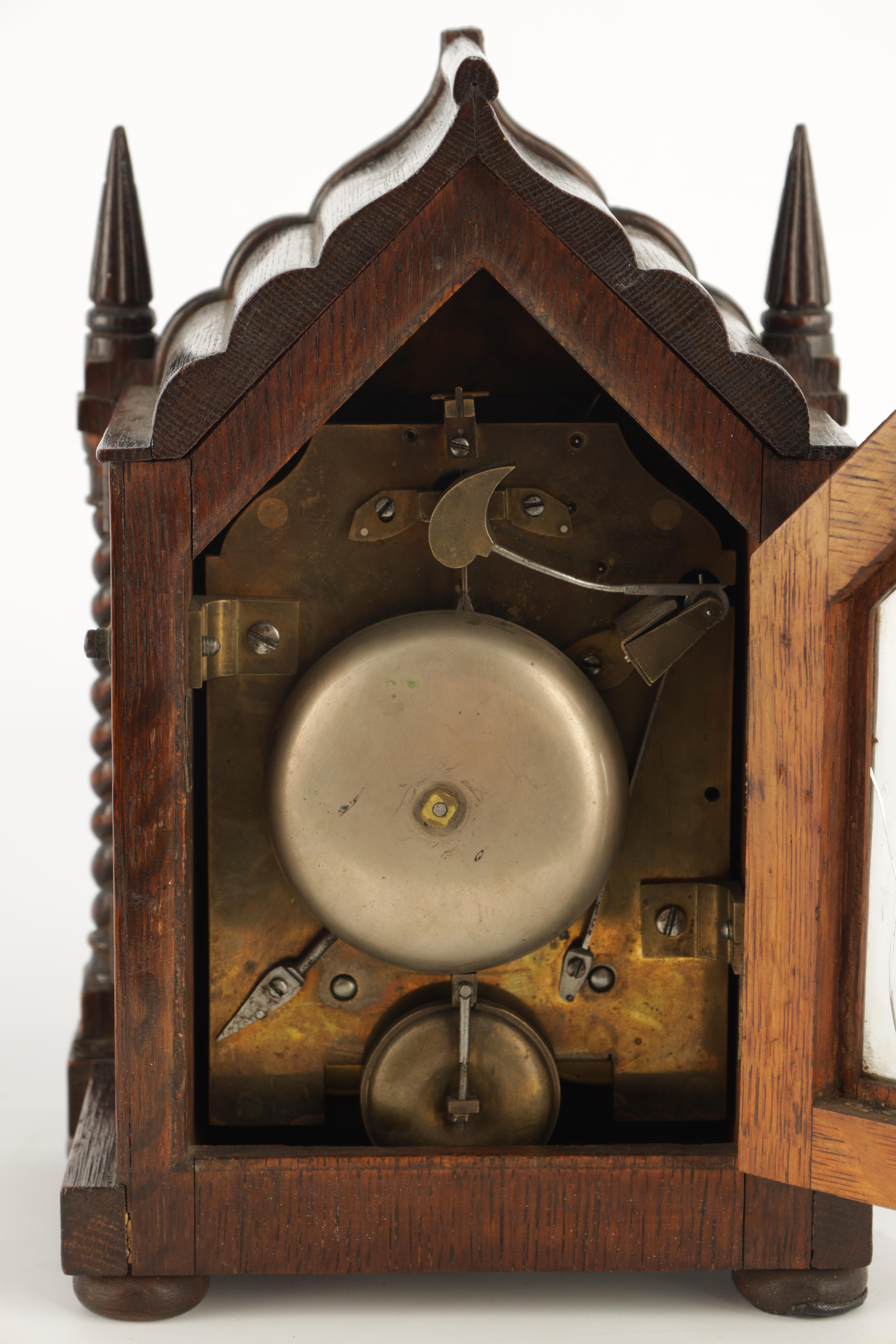 A SMALL MID 19TH CENTURY OAK CASED DOUBLE FUSEE MANTEL CLOCK the gothic style case with twisted - Image 5 of 7