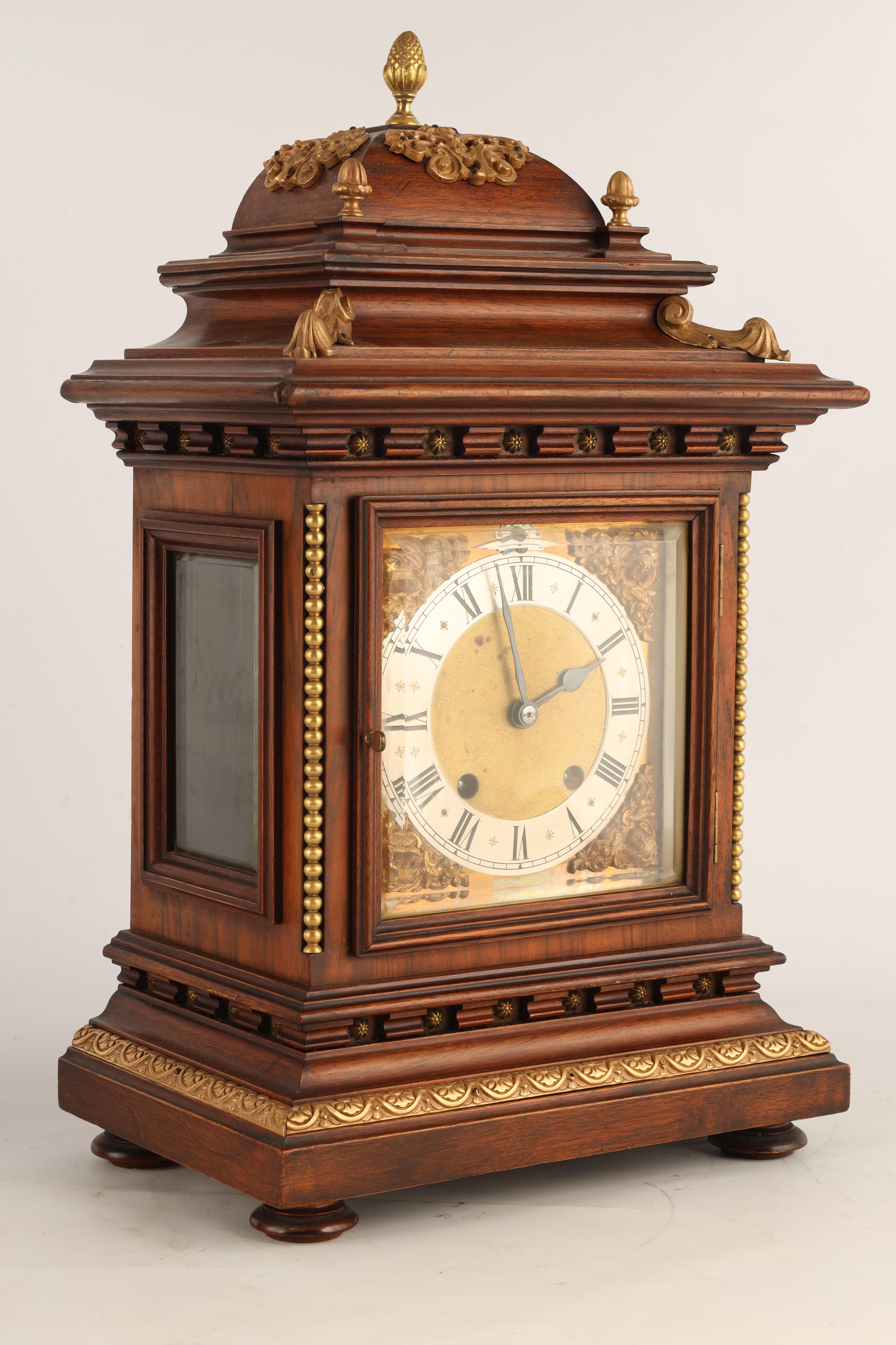 """A LATE 19TH CENTURY GERMAN WALNUT ORMOLU MOUNTED BRACKET CLOCK the 6.5"""" square brass dial with - Image 3 of 8"""