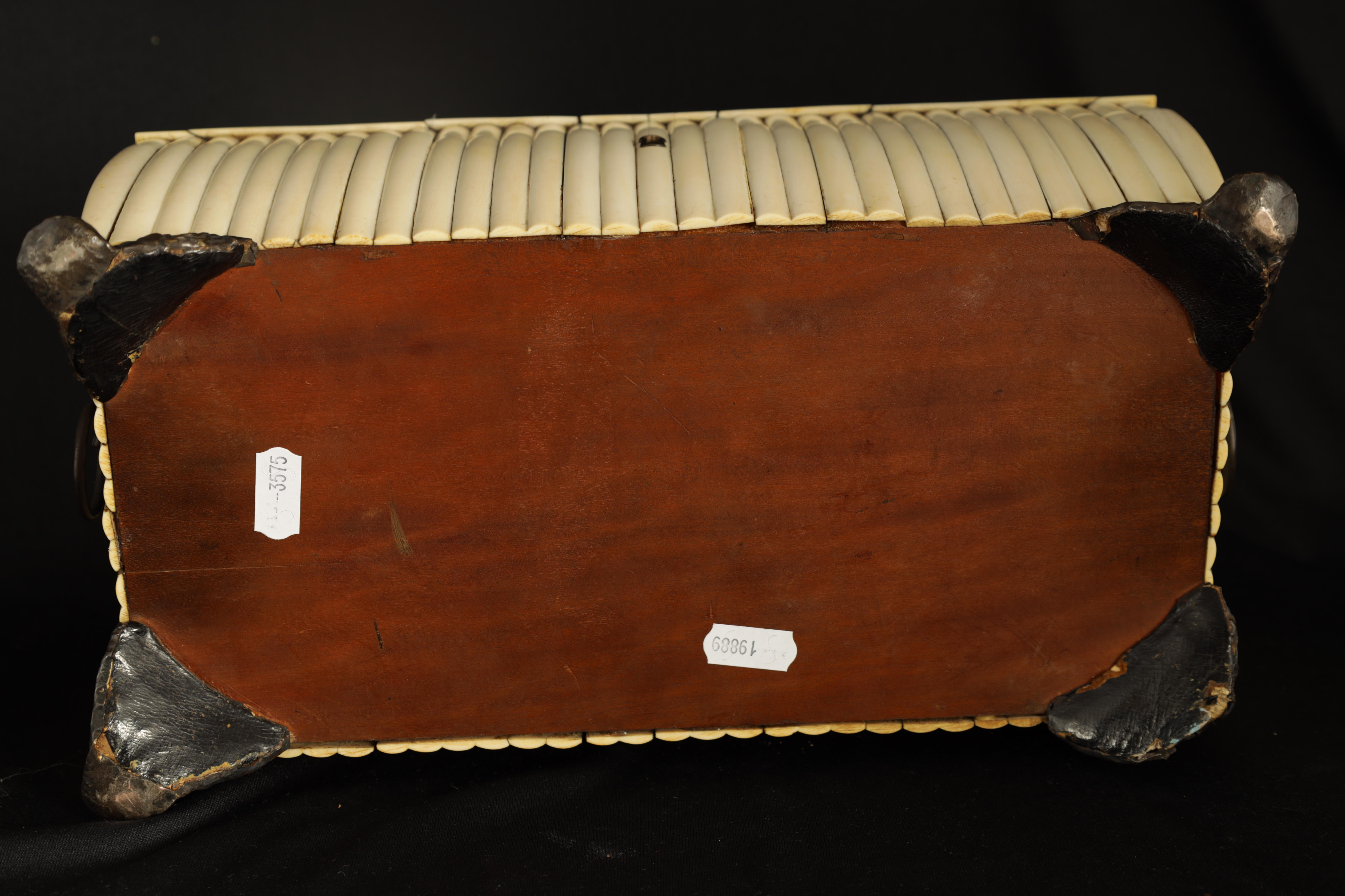 A REGENCY ANGLO-INDIAN IVORY AND SANDALWOOD VIZAGAPATAM TEA CADDY of sarcophagus form with gadroon - Image 12 of 12