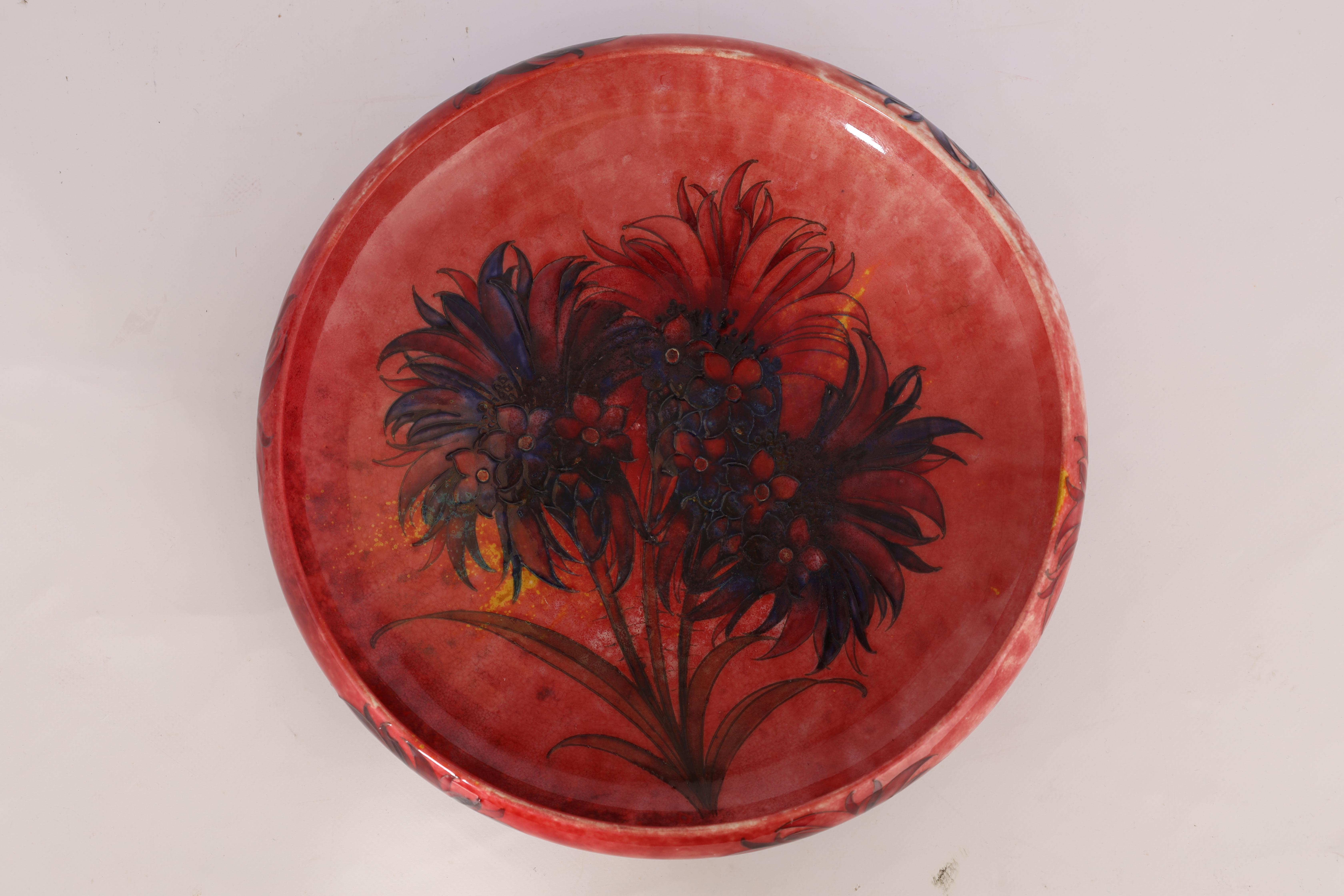 A WILLIAM MOORCROFT OVERSIZED FOOTED SHALLOW BOWL WITH CURVED RIM decorated with a multicoloured - Image 8 of 10