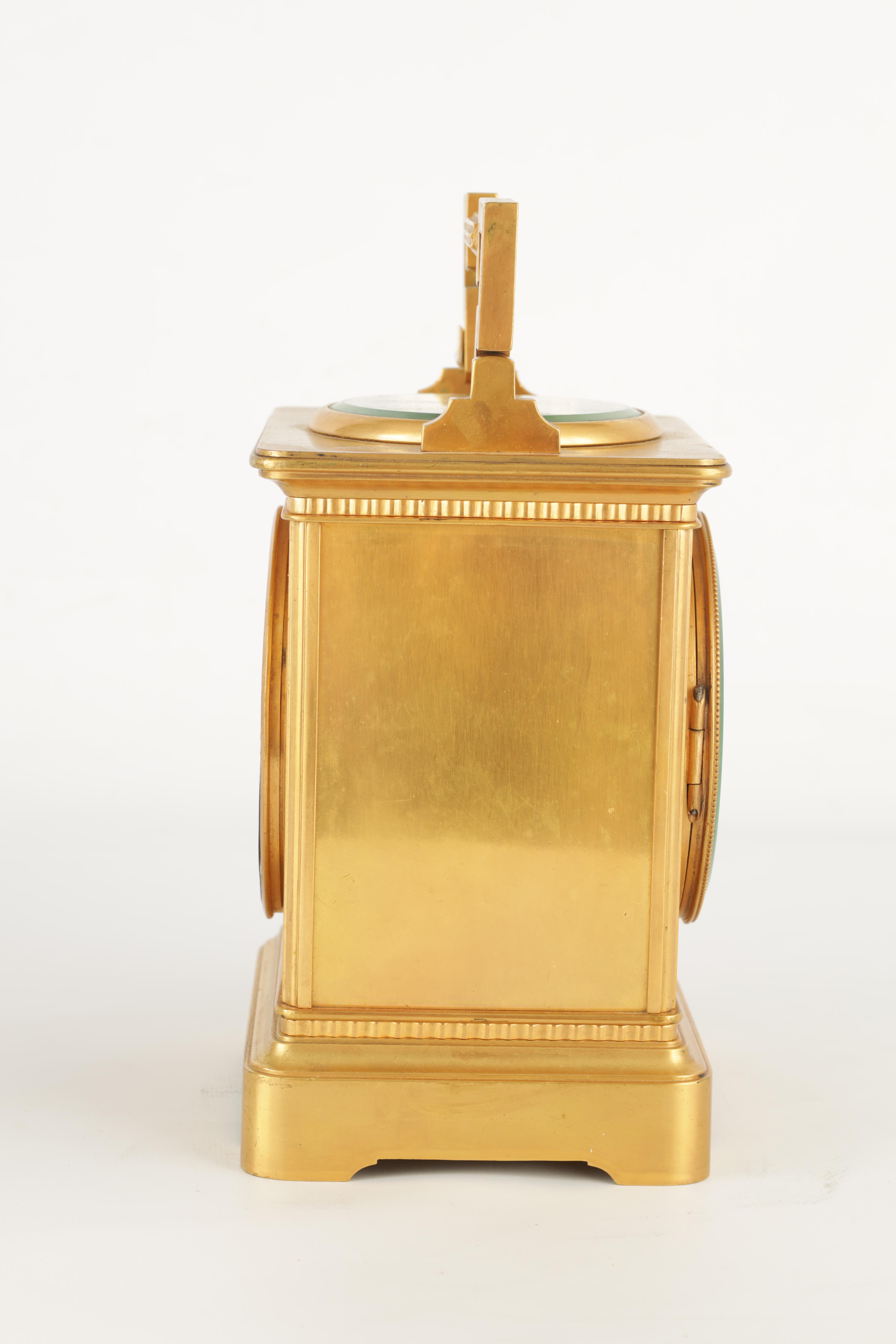 A LARGE FRENCH GILT BRASS CARRIAGE CLOCK WITH BAROMETER the moulded case with hinged handle, the top - Image 6 of 8
