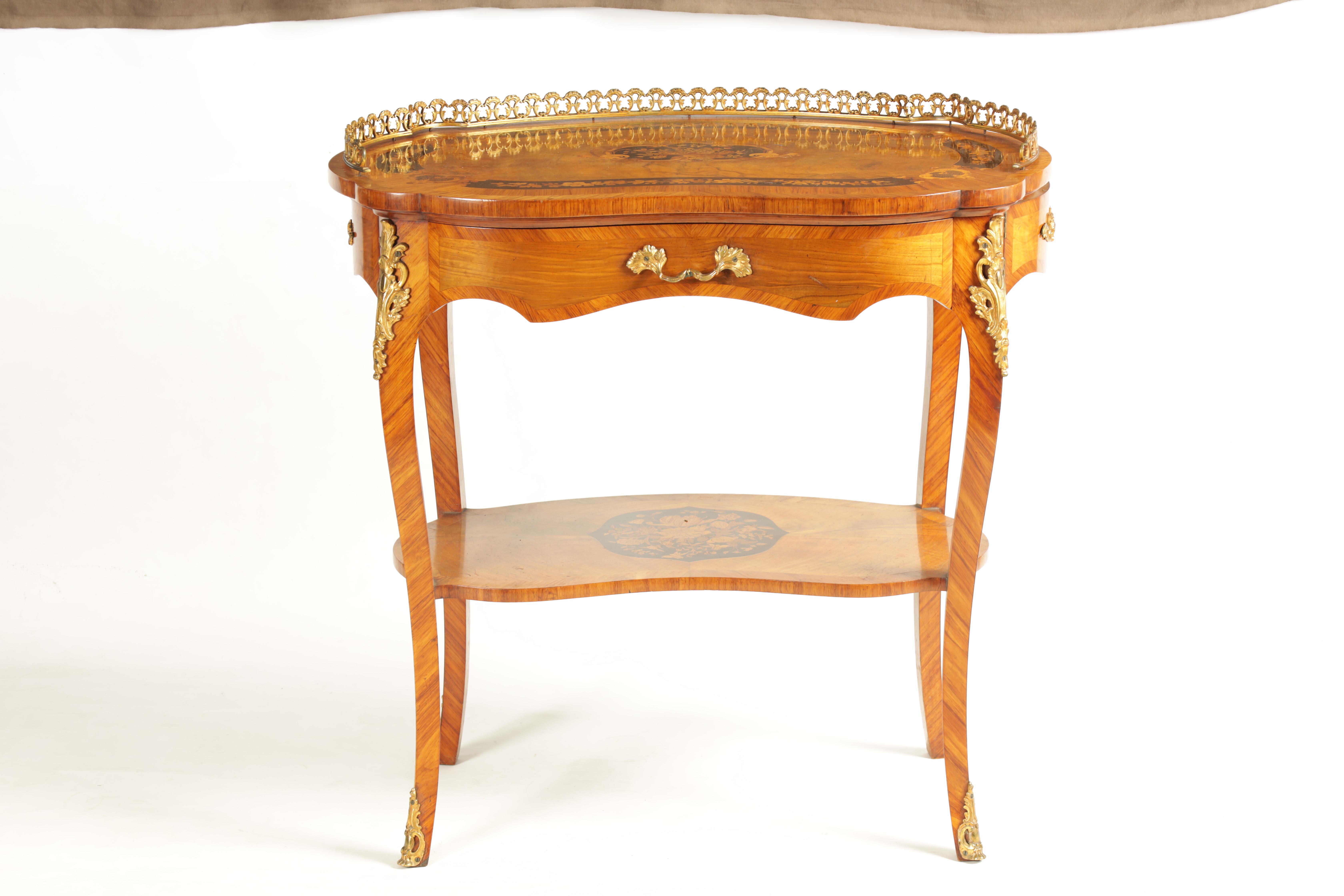 A FINE 19TH CENTURY MARQUETRY INLAID WALNUT KIDNEY SHAPED WRITING TABLE with raised brass - Image 7 of 10