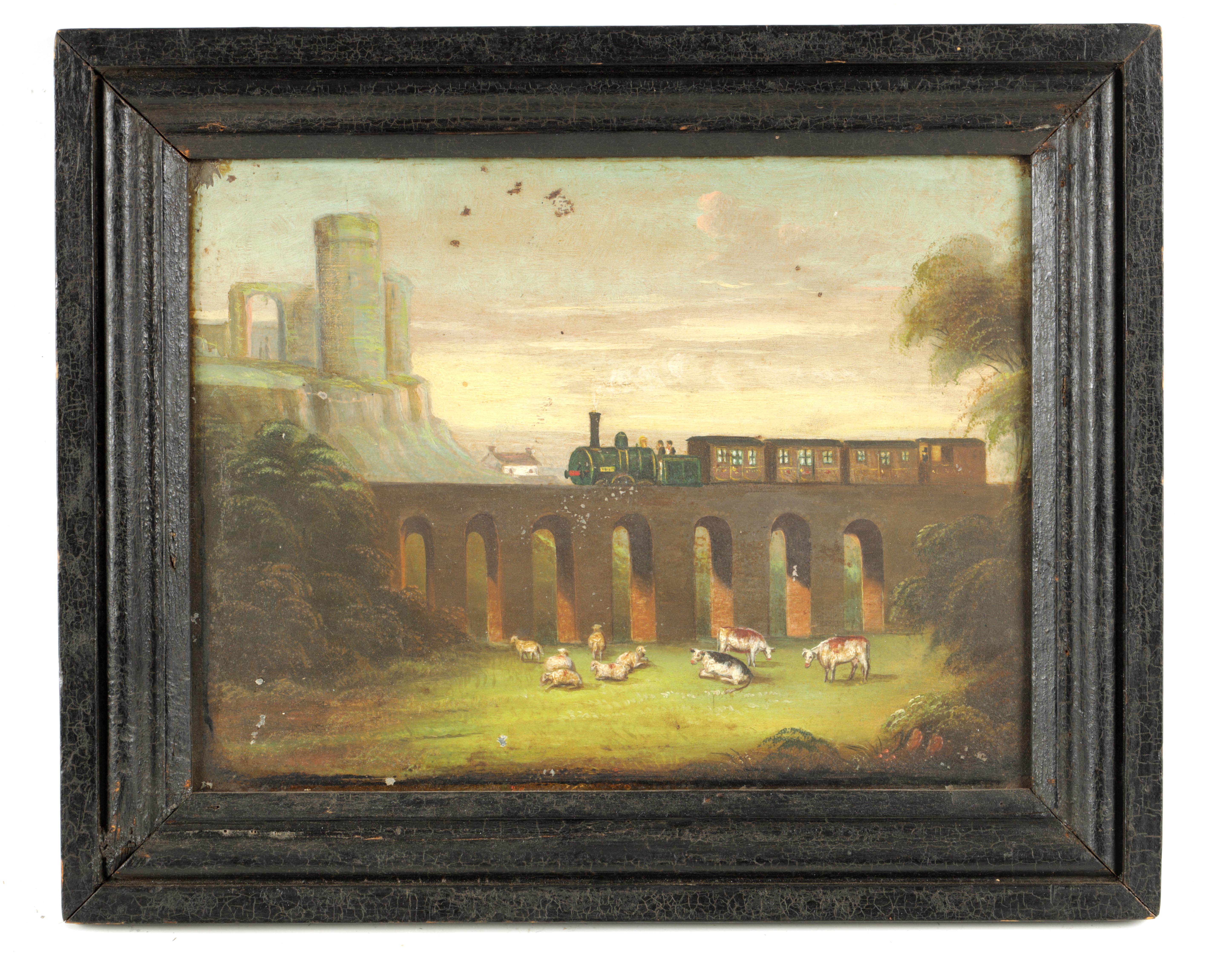 A 19TH CENTURY NIAEVELY PAINTED OILON TIN depicting a steam train on a viaduct with cattle in the