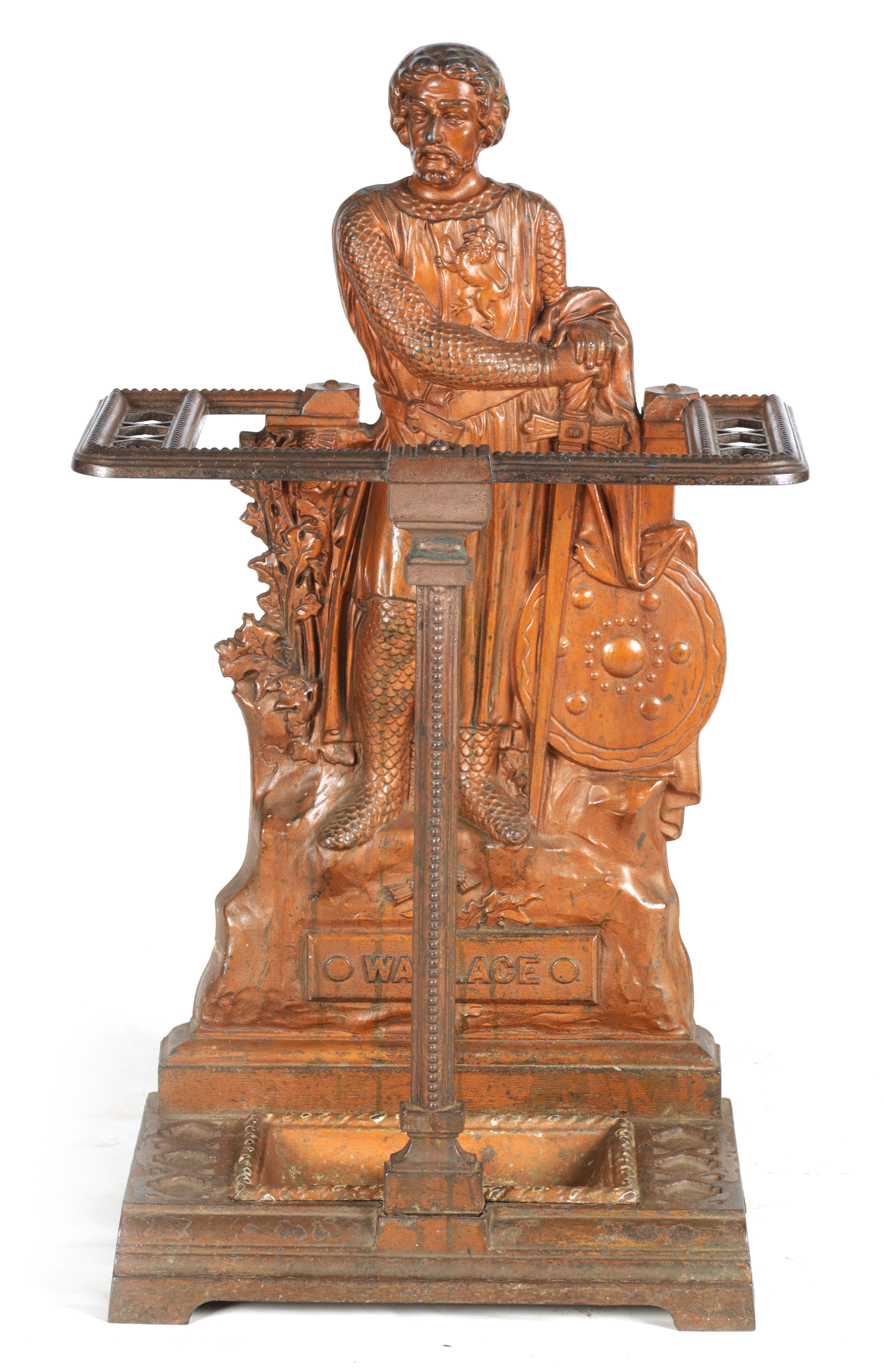 A LATE 19TH CENTURY PAINTED CAST IRON COALBROOKEDALE STYLE STICK STAND DEPICTING WILLIAM WALLACE