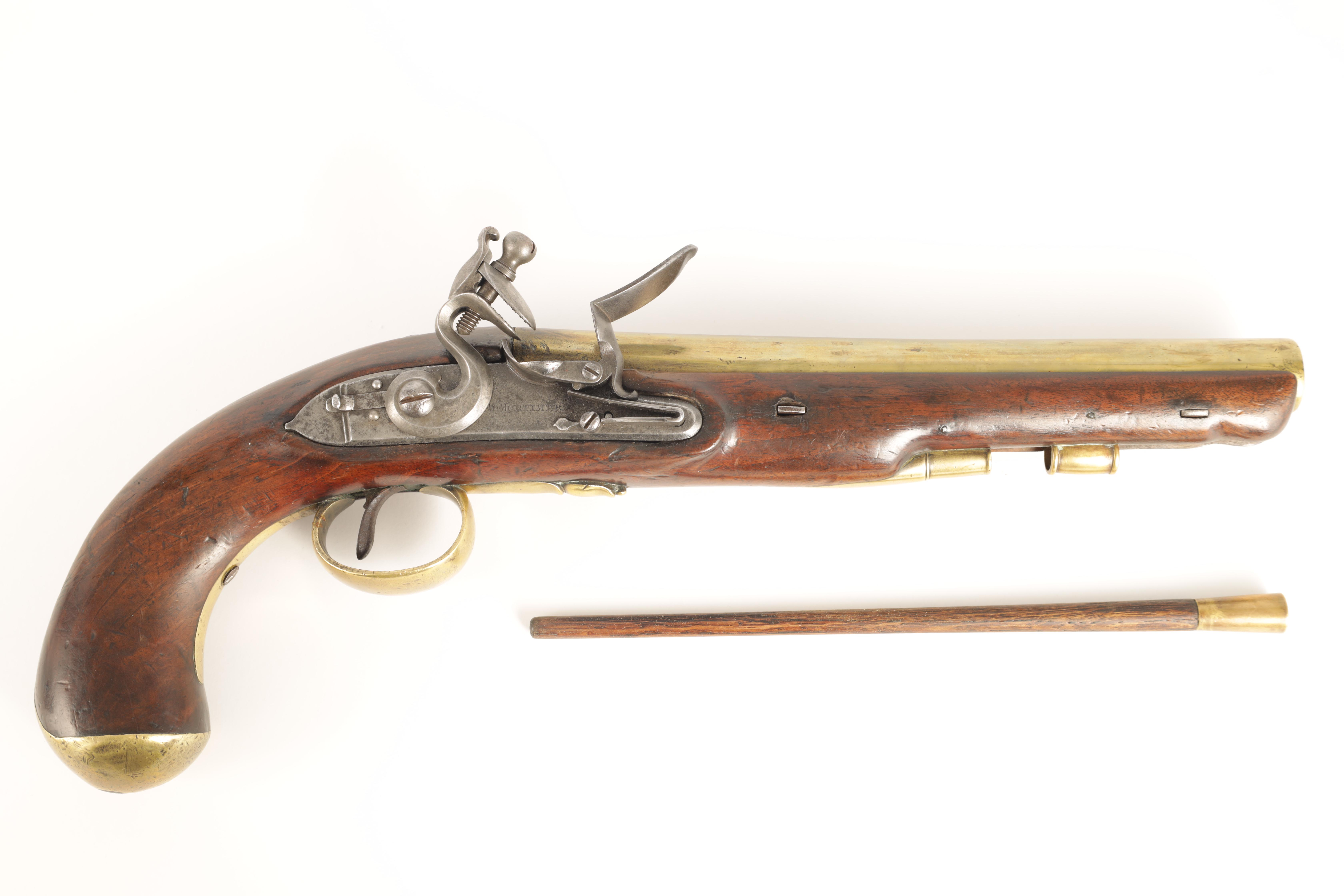 H.W. MORTIMER, LONDON. A RARE GEORGE III ROYAL MAIL COACH FLINTLOCK PISTOL with brass barrel - Image 4 of 9