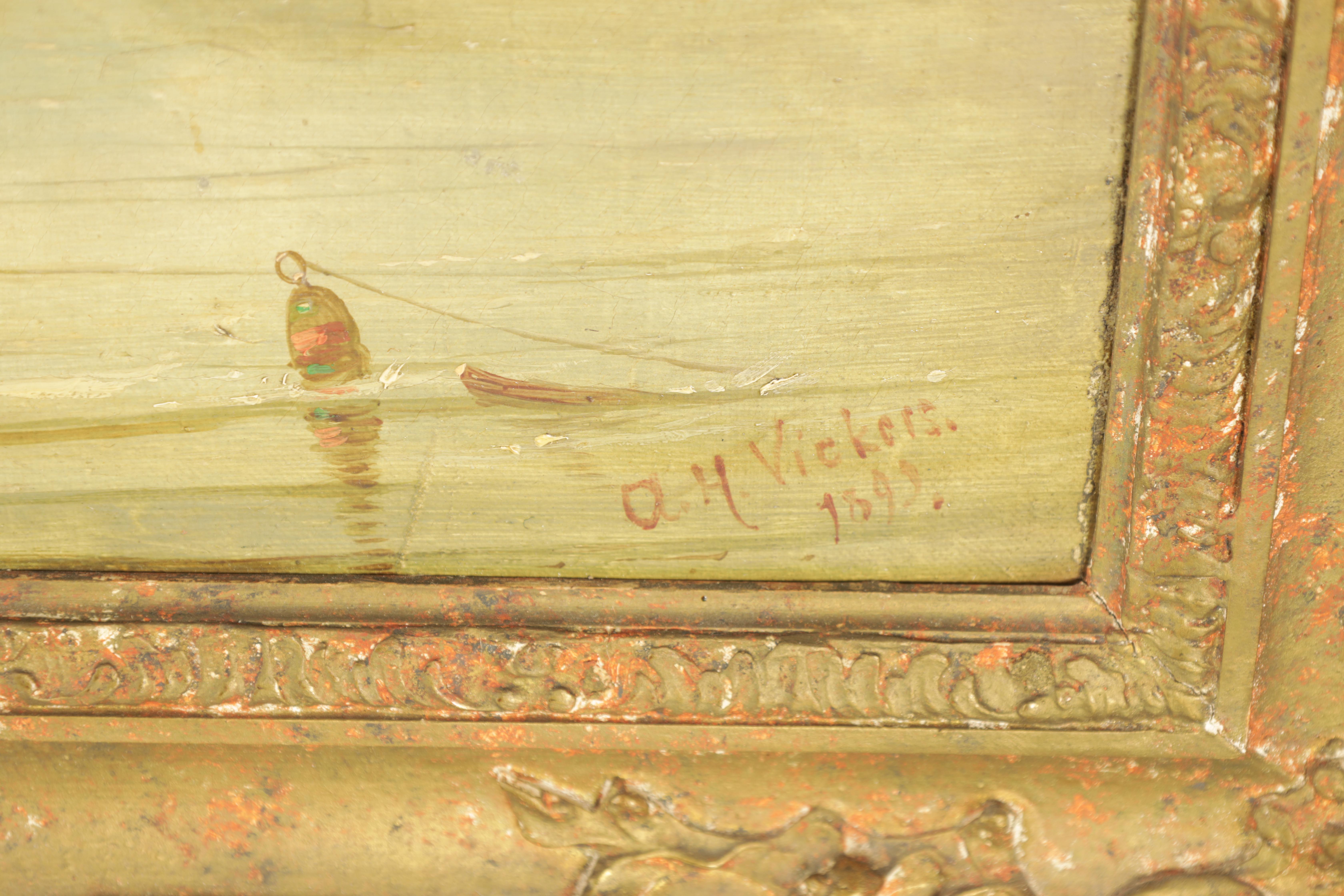 ALFRED H. VICKERS A PAIR OF MID 19TH CENTURY OILS ON CANVAS depicting river landscapes - signed - Image 4 of 8