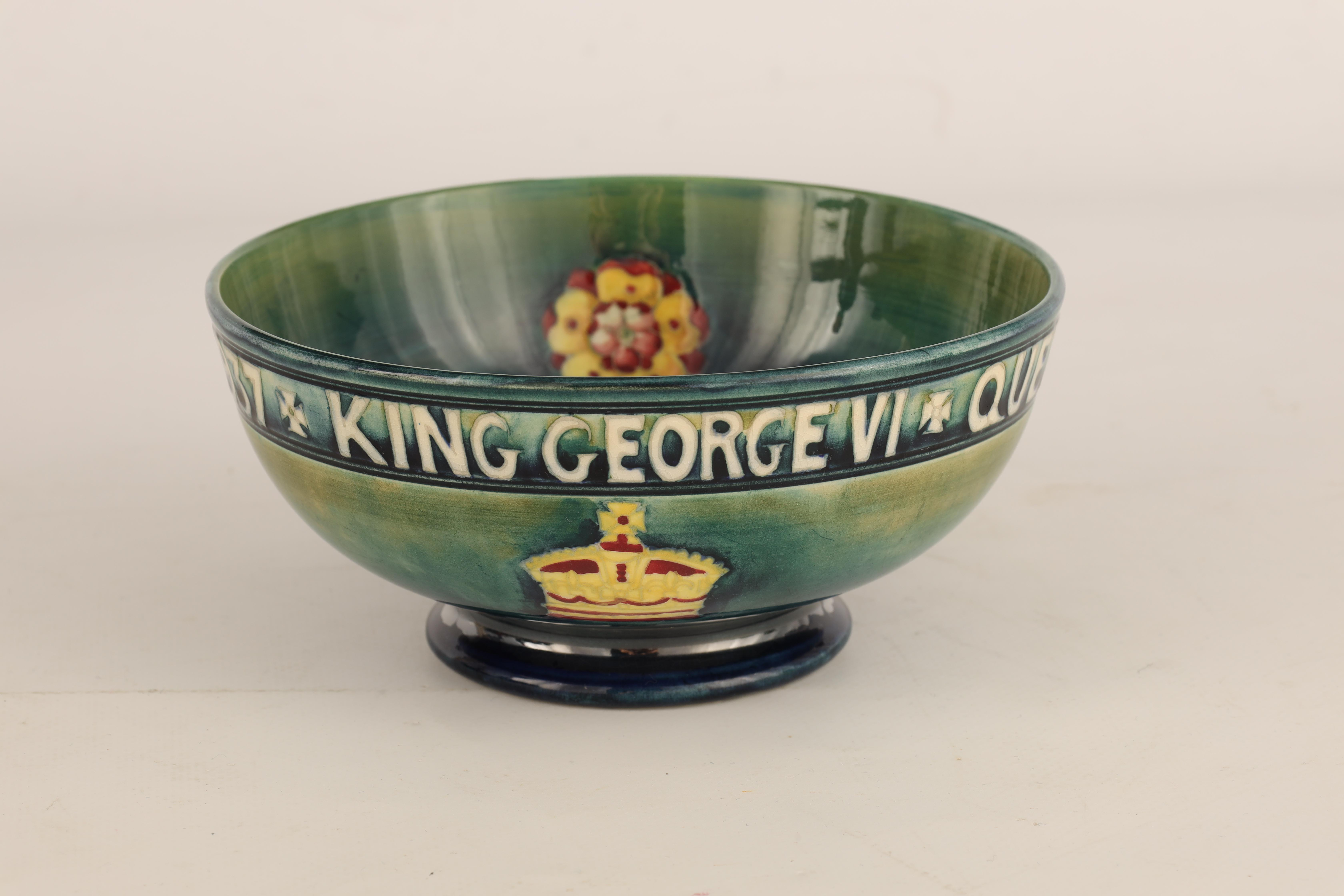 A 1930S MOORCROFT FOOTED BOWL COMMEMORATING THE CORONATION OF GEORGE VI AND QUEEN ELIZABETH MAY 12th - Image 2 of 6