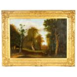 AN 18TH CENTURY OIL ON CANVAS depicting a tree-lined view of Windsor castle with park deer in the