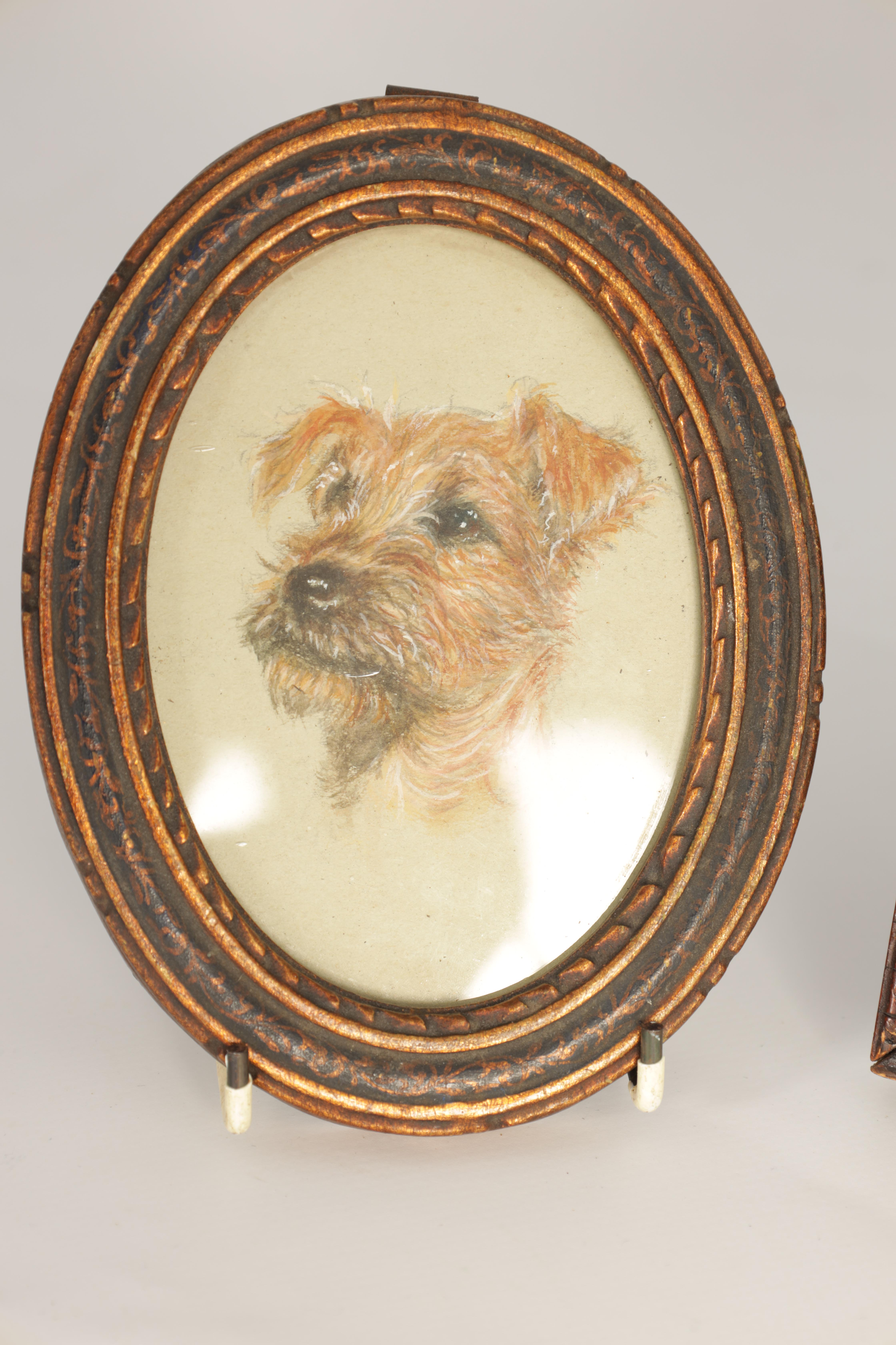 A LATE 19TH CENTURY WATERCOLOUR OVAL PORTRAIT OF A TERRIER 11cm high 8cm wide mounted in a lacquered - Image 3 of 14