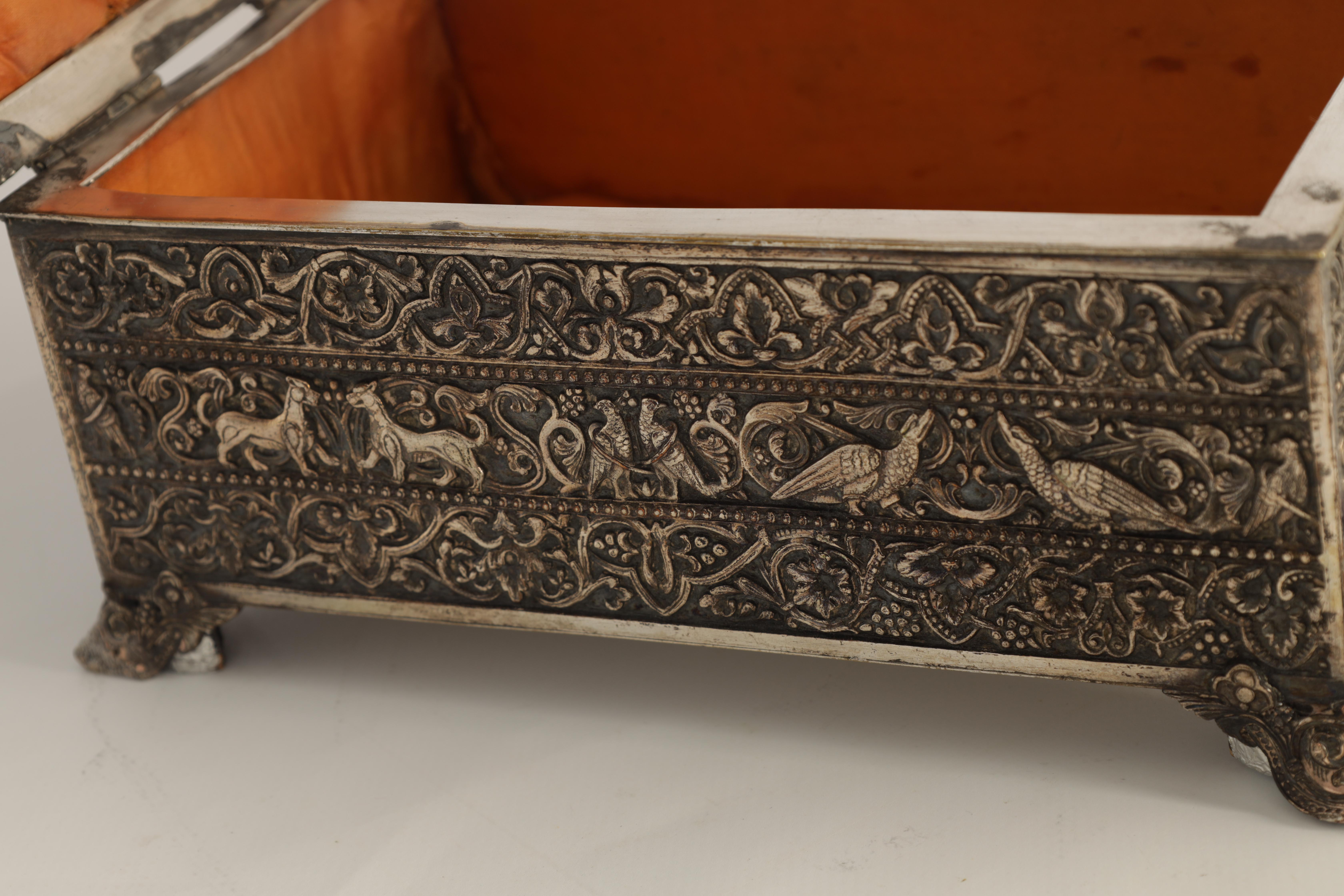 A 19TH CENTURY SILVERED BRONZE JEWELLERY CASKET the lid with intricate relief groups of birds, - Image 6 of 12