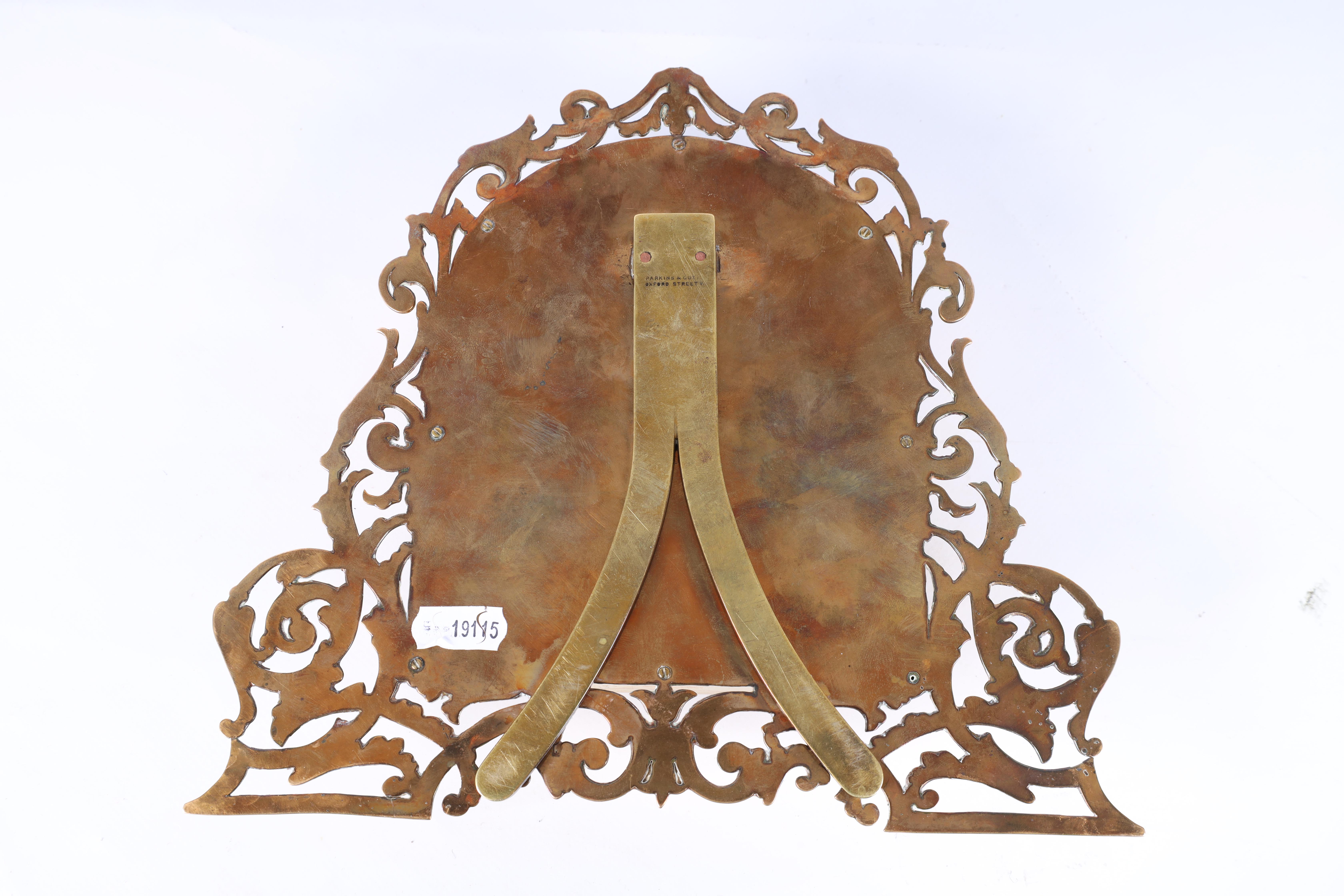 A LATE 19TH CENTURY PIERCED AND ENGRAVED BRONZE FOLDING PHOTOGRAPH FRAME the front with four - Image 8 of 8