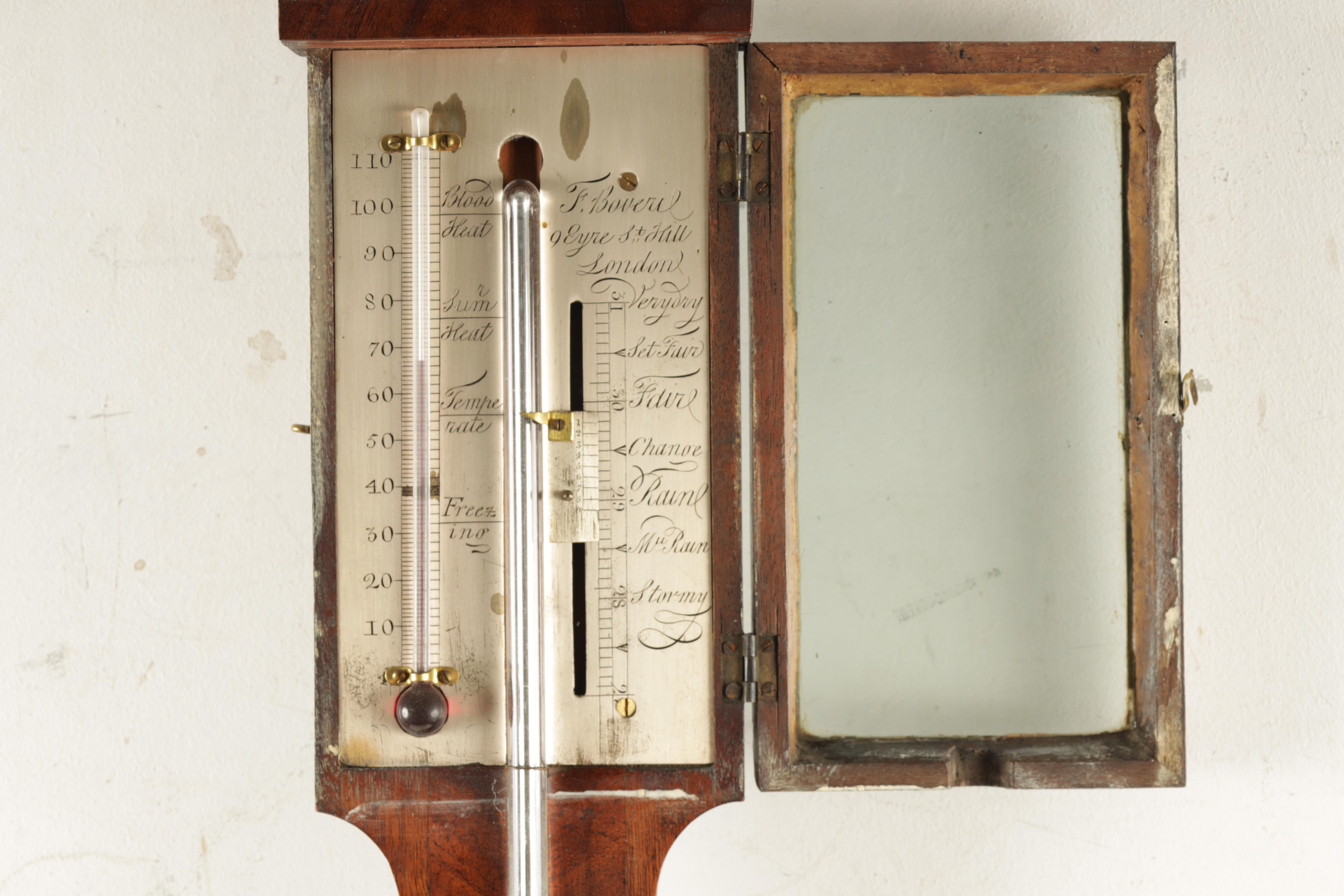 F. BOVERIL, 9 EYRE STREET, HILL, LONDON A GEORGE III MAHOGANY STICK BAROMETER the case with arched - Image 5 of 6