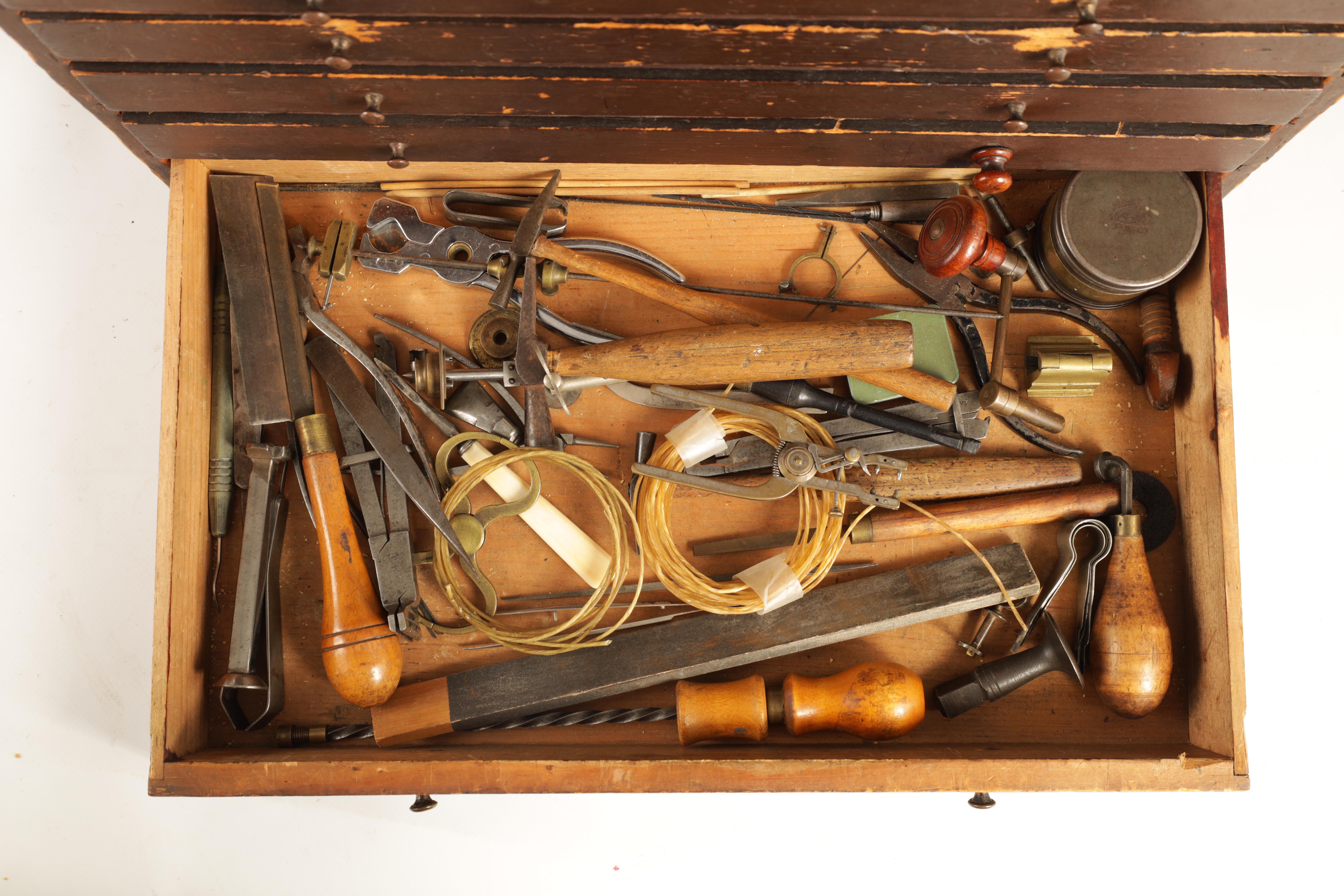 A LARGE COLLECTION OF JEWELERS AND WATCHMAKERS TOOLS contained in a set of pine drawers - Image 5 of 12