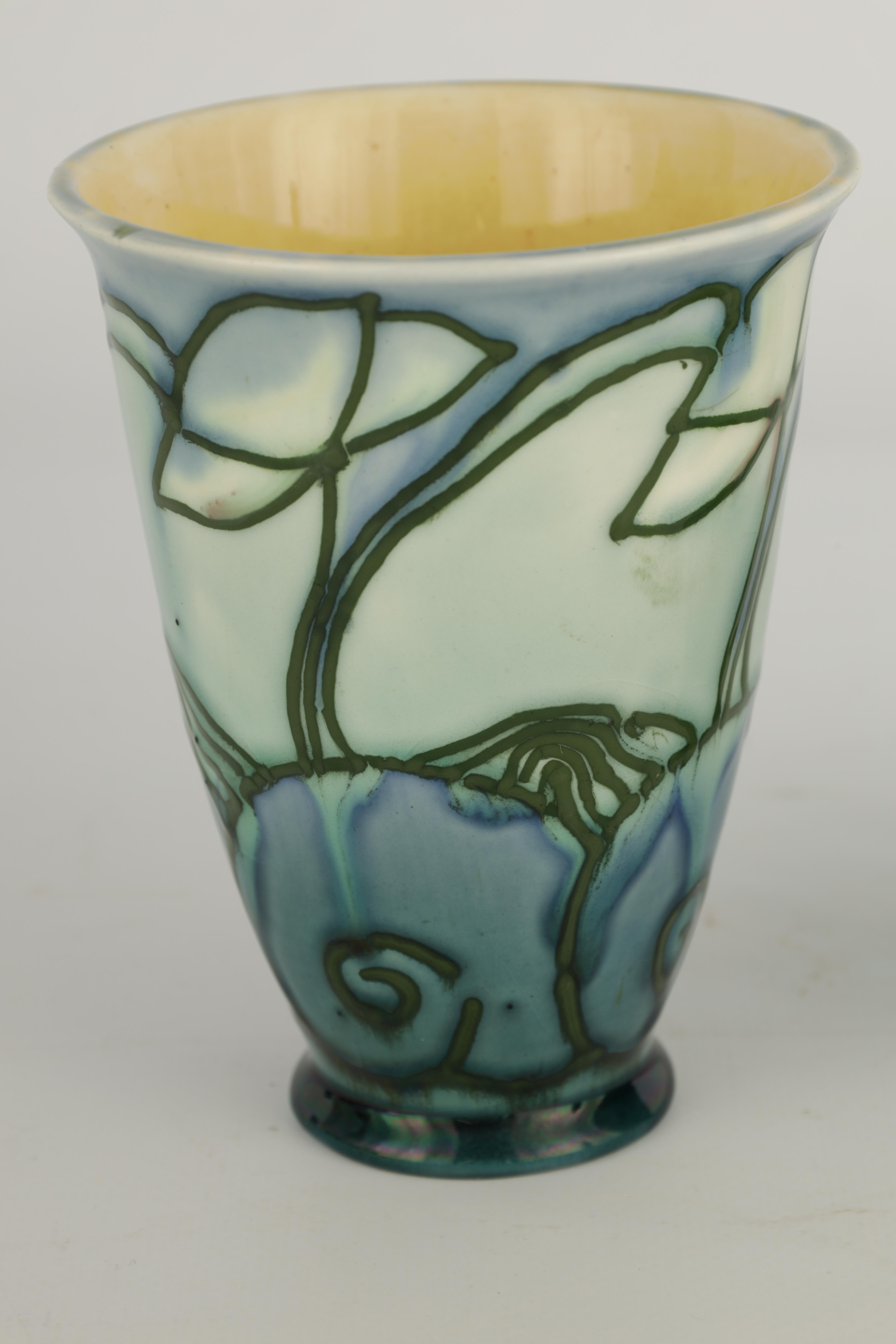A PAIR OF MINTON LTD SECESSIONIST WARE TAPERING BEAKER VASES tube lined and decorated with - Image 3 of 6