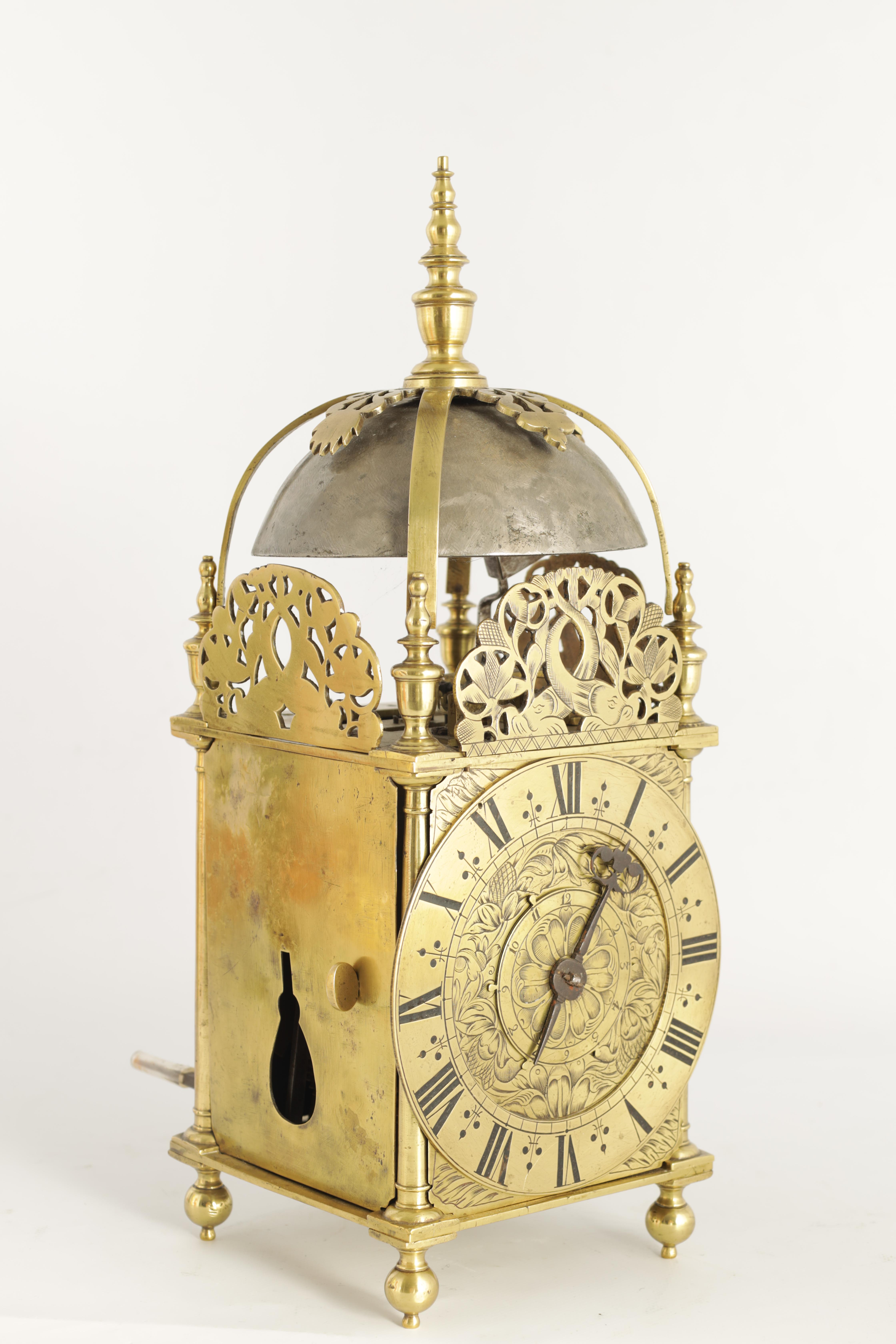 A FINE CHARLES II BRASS LANTERN CLOCKthe posted frame with side doors, engraved fretwork - Image 3 of 9