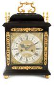 JOHN LAMBORN, LONDON AND CAMBRIDGE. AN 18TH CENTURY EBONY VENEERED VERGE BRACKET CLOCK the caddy-top
