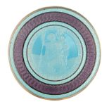 A FINE SILVER ENAMEL MEDAL with light blue and purple colours depicting St. Christopher 5cm diameter