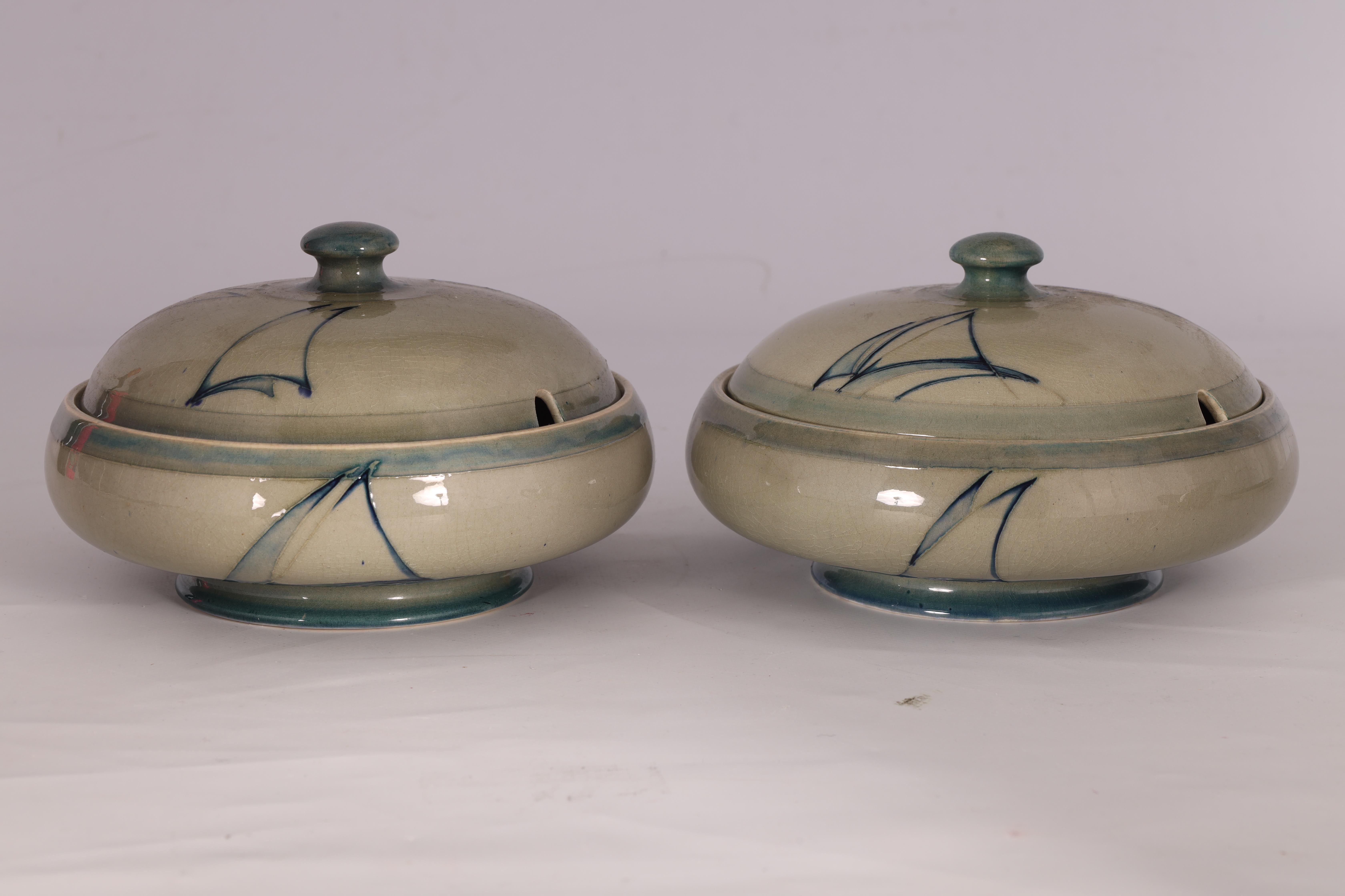 A PAIR OF MOORCROFT LIDDED TABLE TUREENS decorated in the Yacht pattern on a celadon ground, 19. - Image 2 of 12