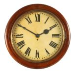 A LARGE LATE 19TH CENTURY FUSEE WALL CLOCK the moulded mahogany surround with a brass bezel